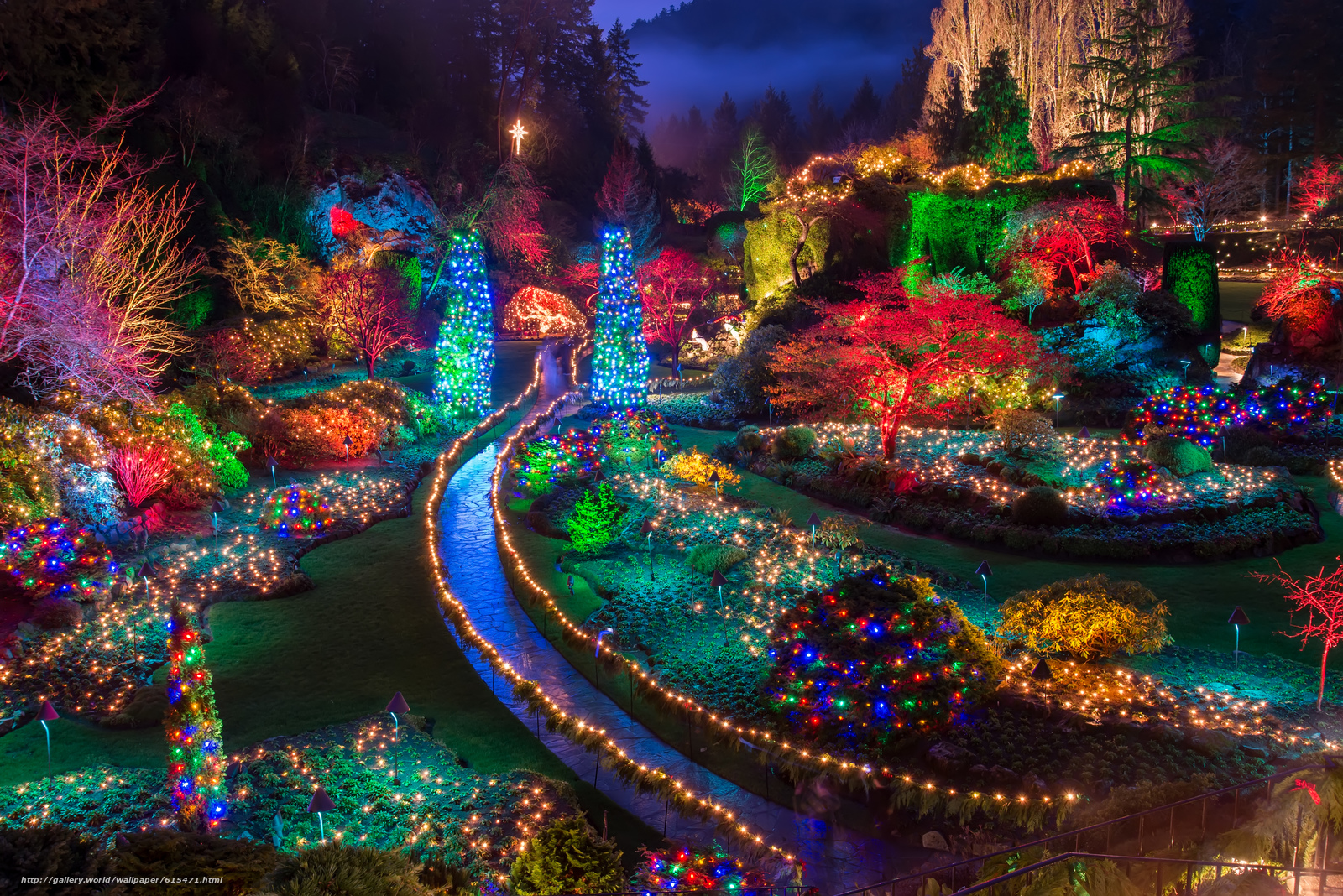 Buchart Gardens, Christmas Lights, Saanichton, British Columbia, Canada