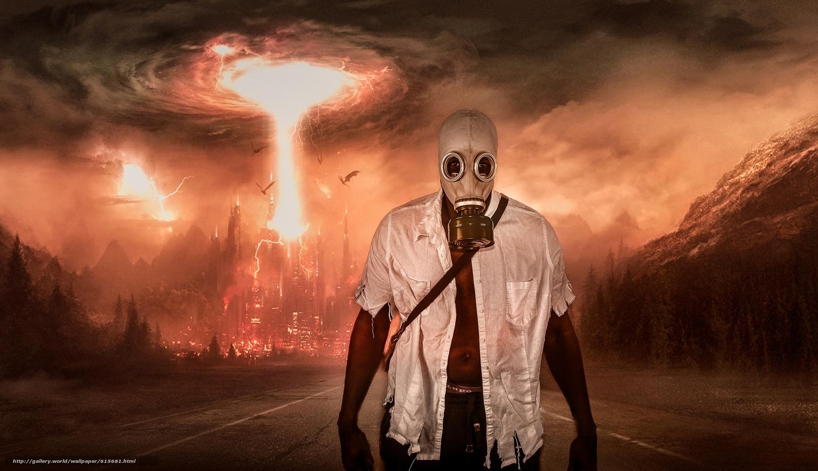 апокалипсис, взрыв, мужик, противогаз, дорога