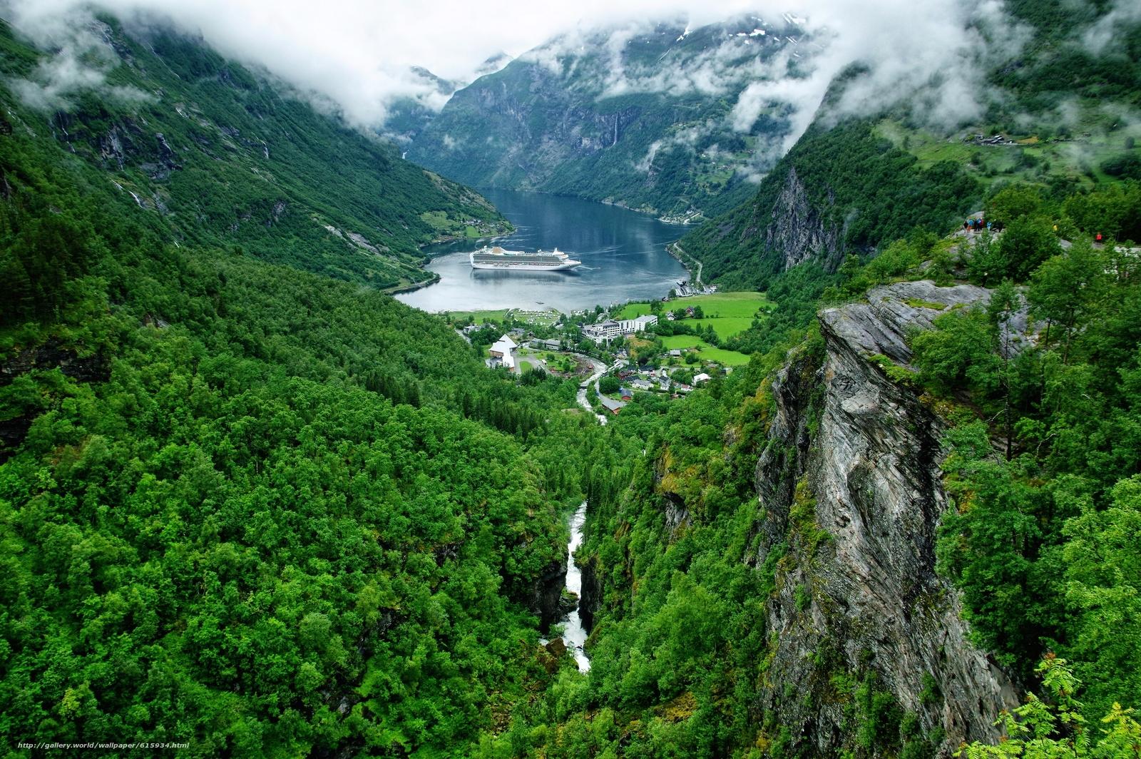 Geiranger, Geirangerfjord, Norway, Гейрангер, Гейрангер-фьорд, Норвегия, фьорд, горы, деревня, лайнер, панорама