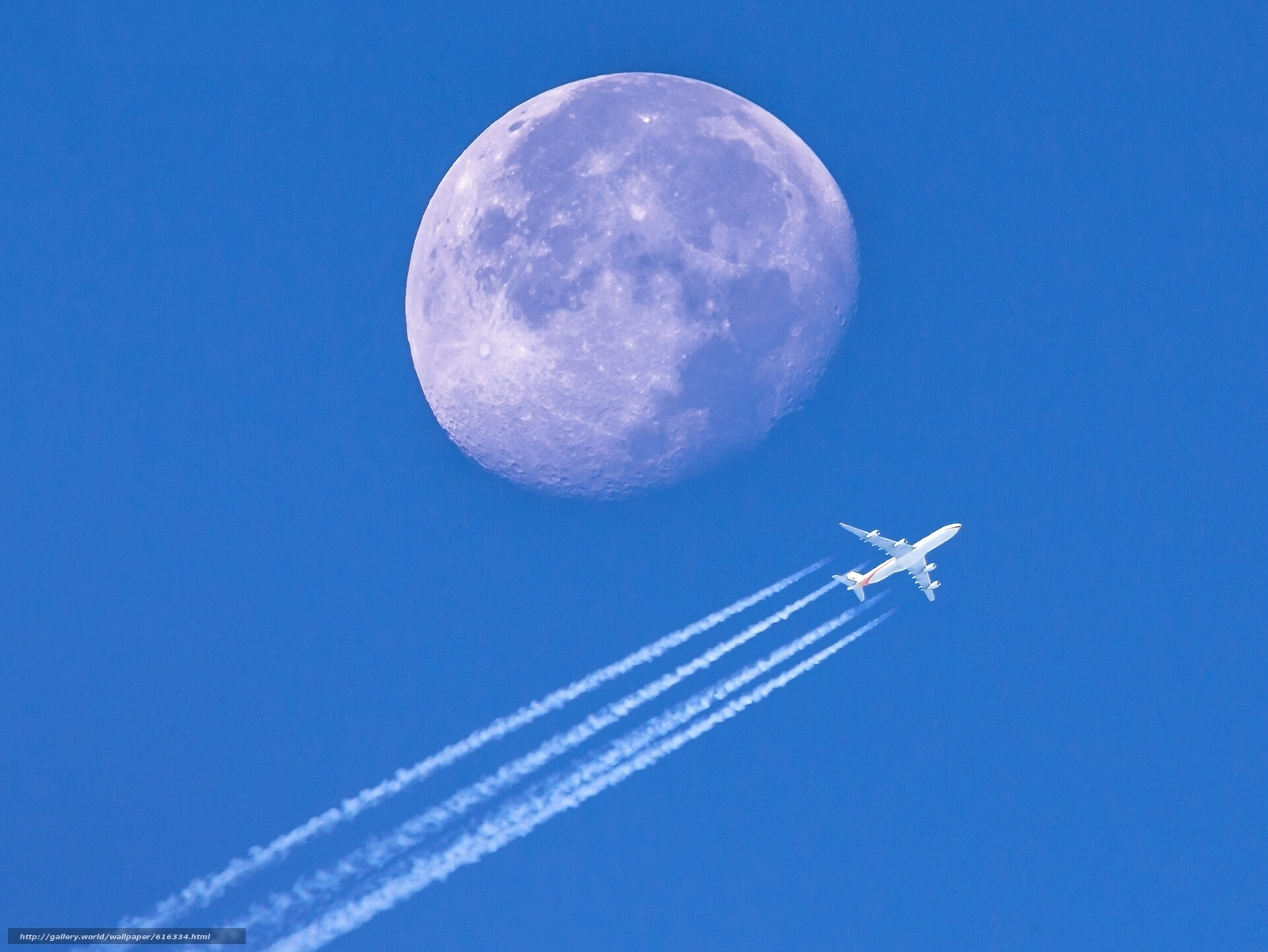 самолёт, Луна, планета, небо