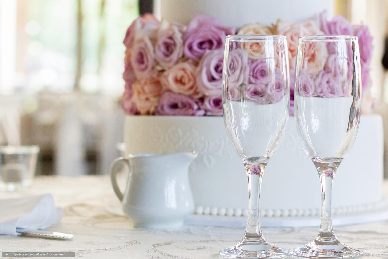 свадебный торт, торт, бокалы