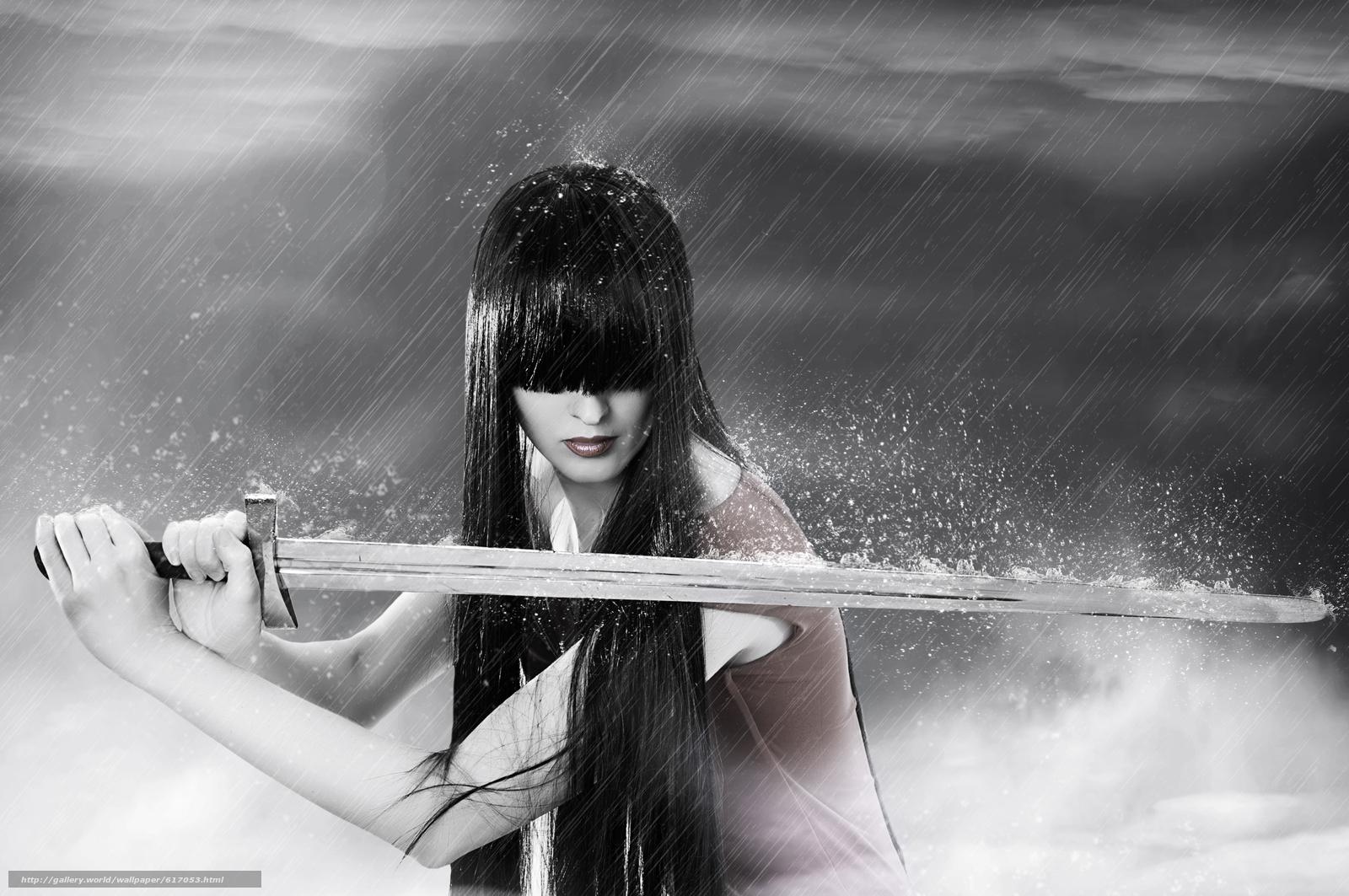 меч, дождь, девушка, брюнетка