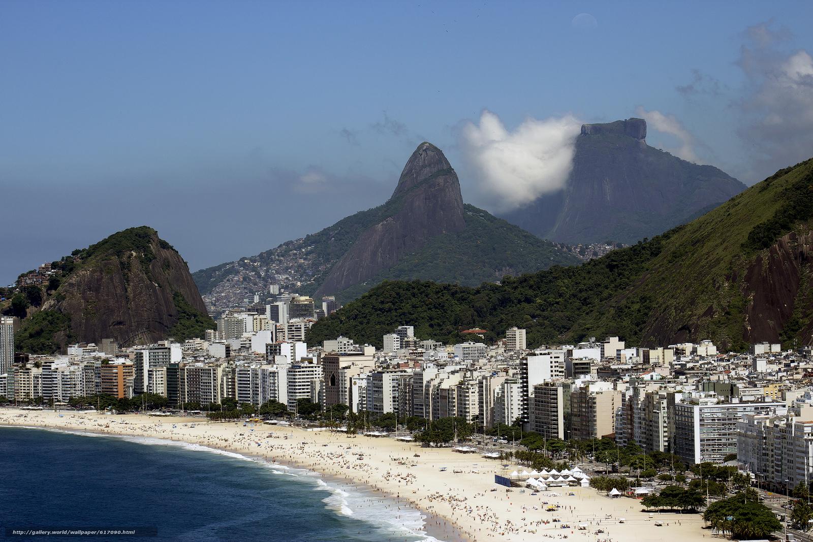 Рио-де-Жанейро, Бразилия, город, горы, море