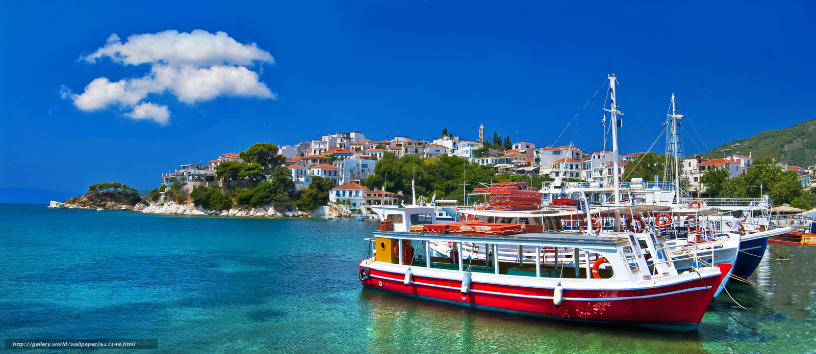 boats, harbor, Skopelos island, Greece, panorama