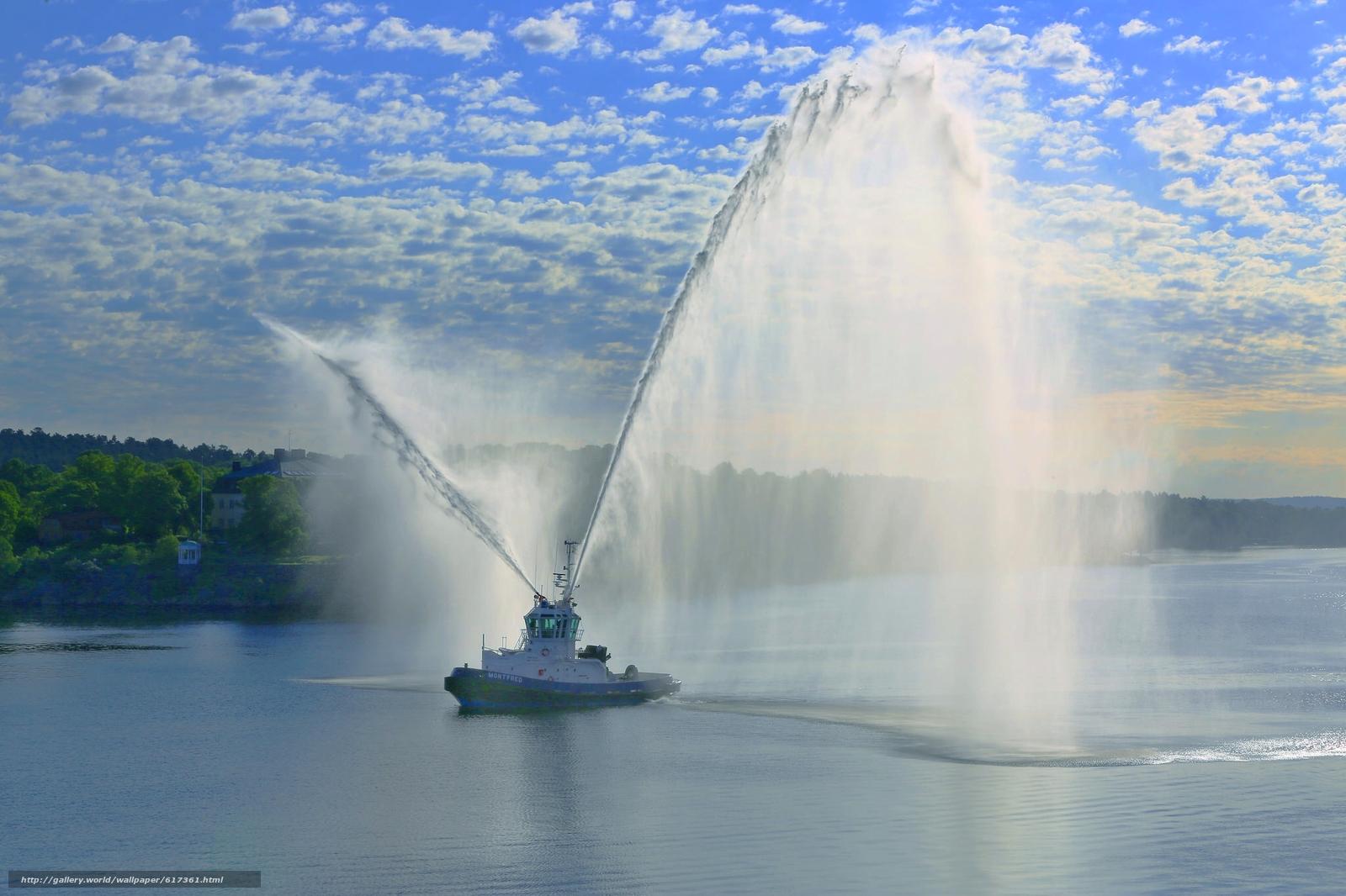 Stockholm, Sweden, Стокгольм, Швеция, буксир, водомёты, салют, фонтан, порт