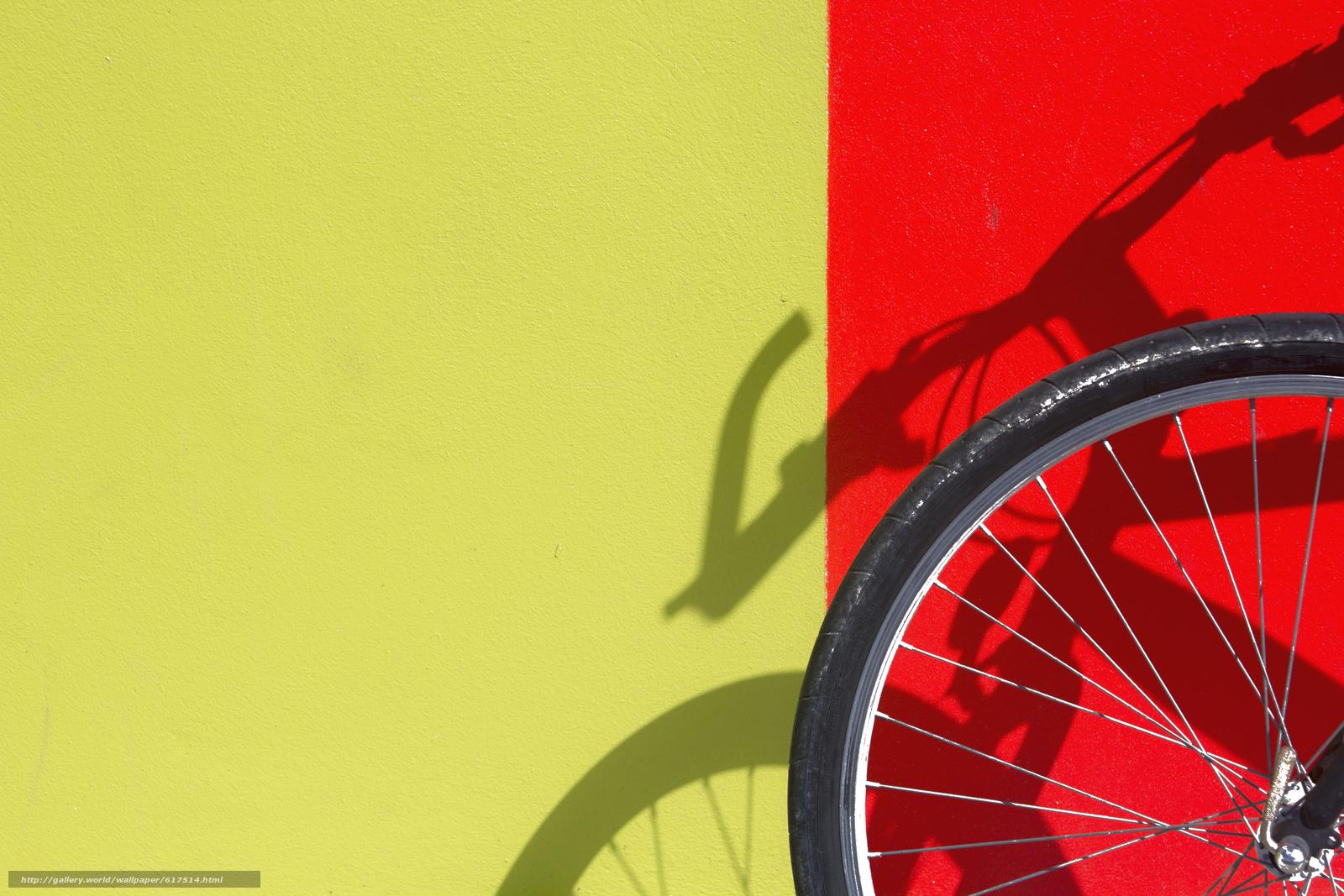 стена, жёлтый, красный, тень, велосипед, колесо