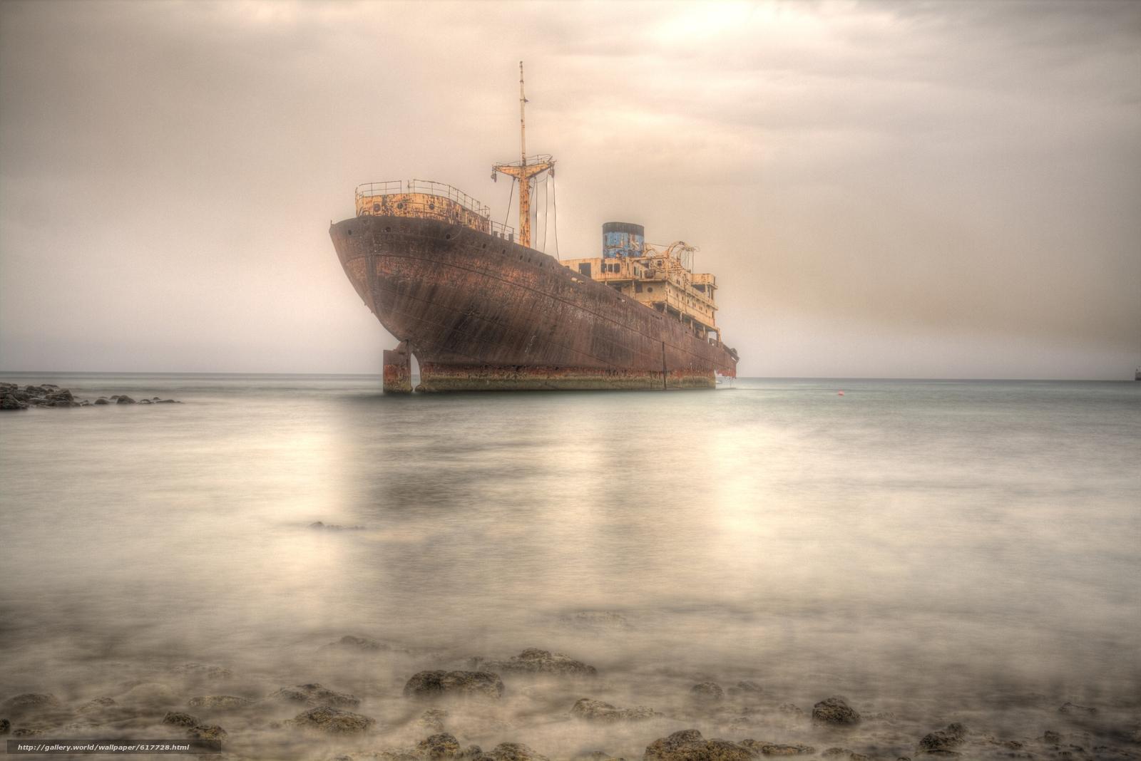 судно, корабль, ржавый, море