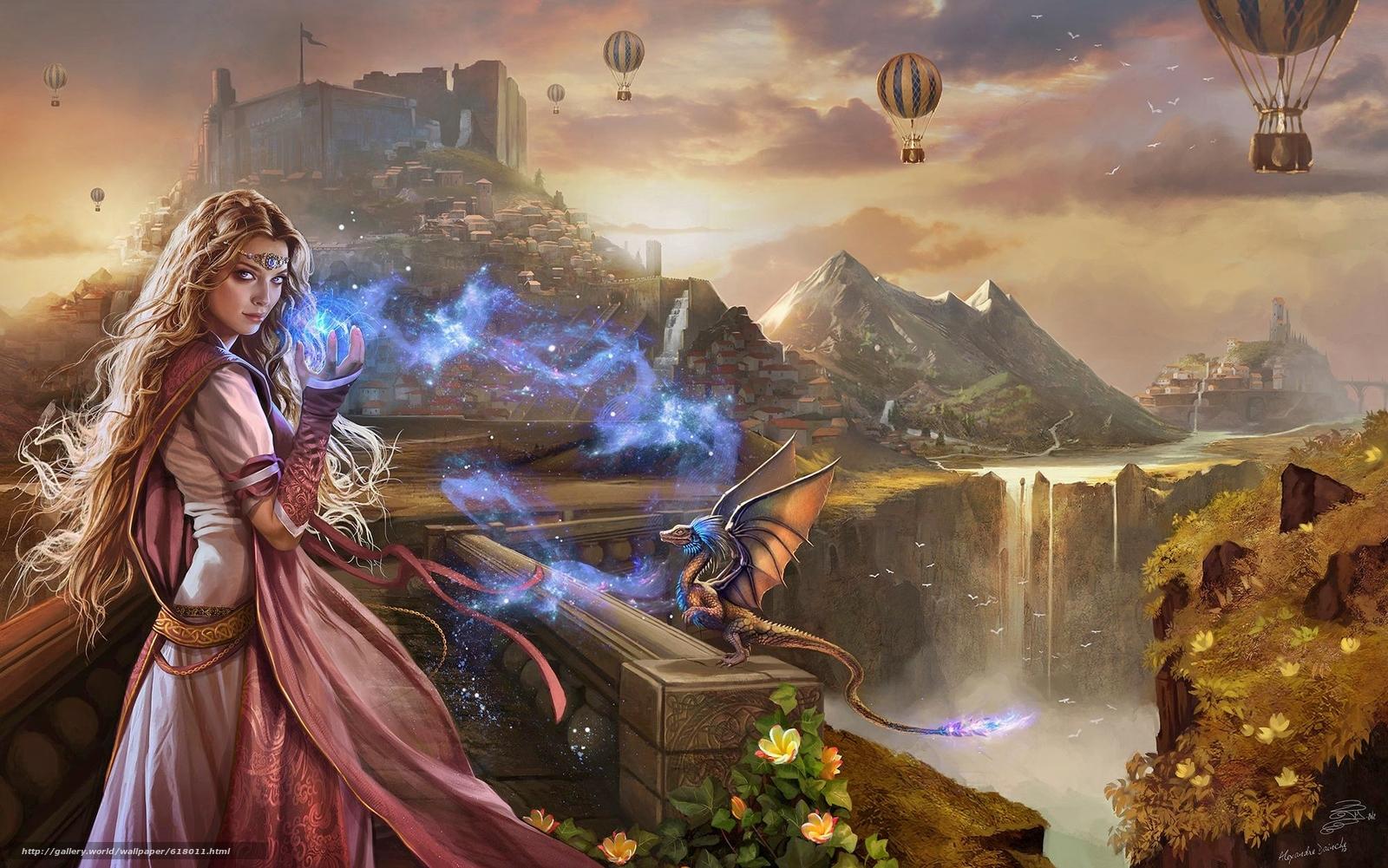 Monde Imaginaire, princess, castle, dragon, magic, balloons, water
