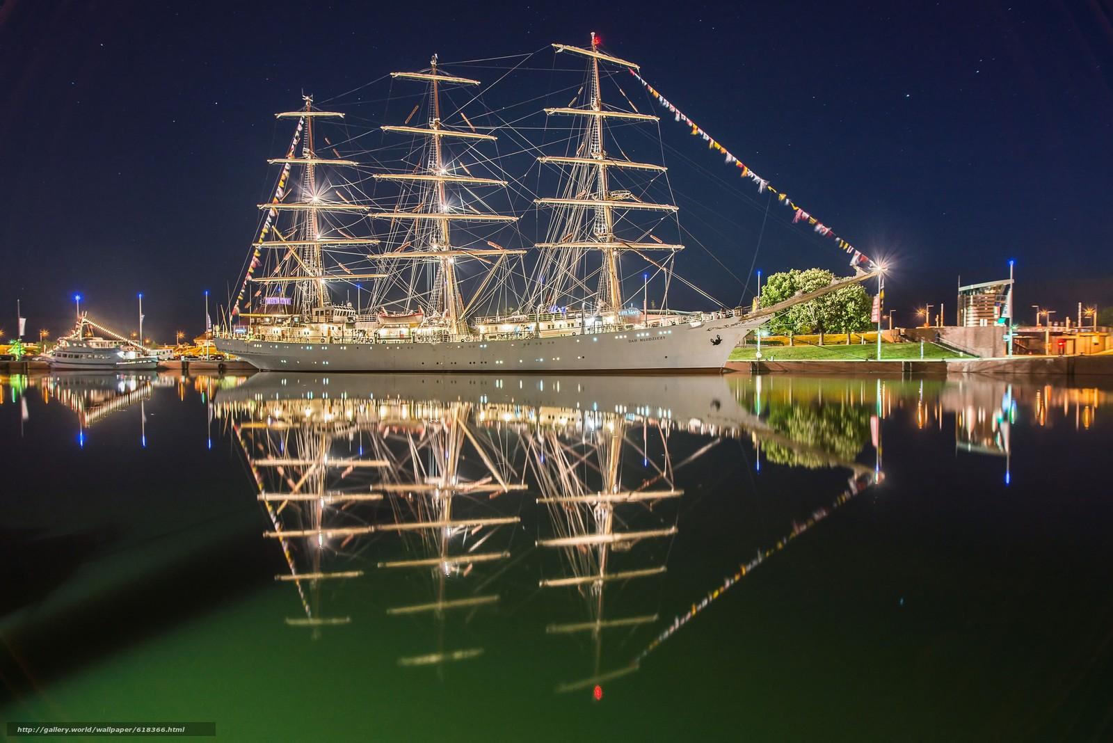 Dar M?odzie?y, Bremerhaven, Germany, Weser River, Дар Молодёжи, Бремерхафен, Германия, река Везер, фрегат, парусник, река, отражение