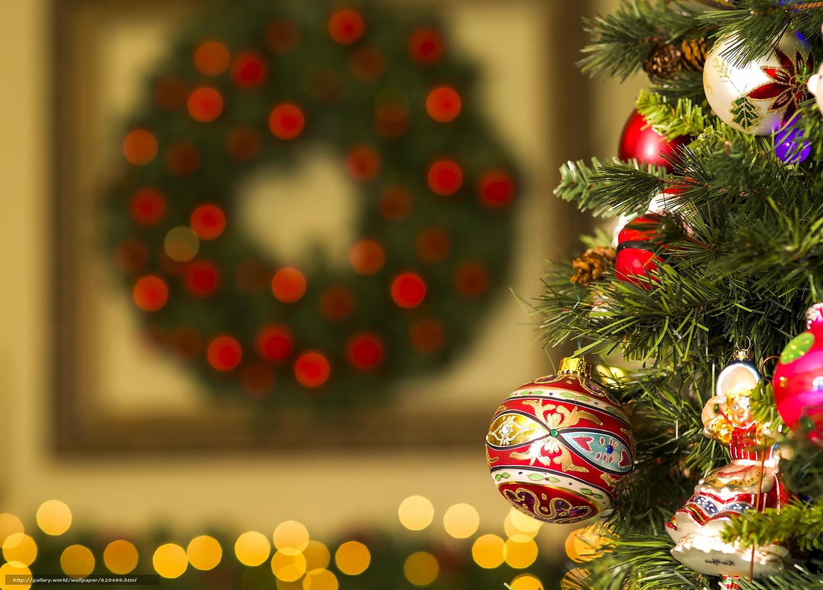 Новый год, Рождество, ёлка, игрушки, украшения, шарики, блики