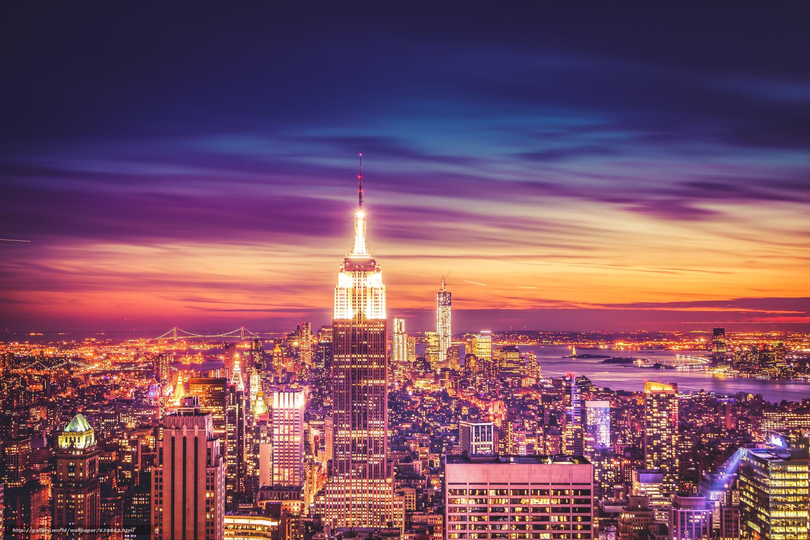 Empire State Building, Manhattan, New York City, Эмпайр-стейт-билдинг, Манхэттен, Нью-Йорк, ночной город, небоскрёбы, здания, панорама