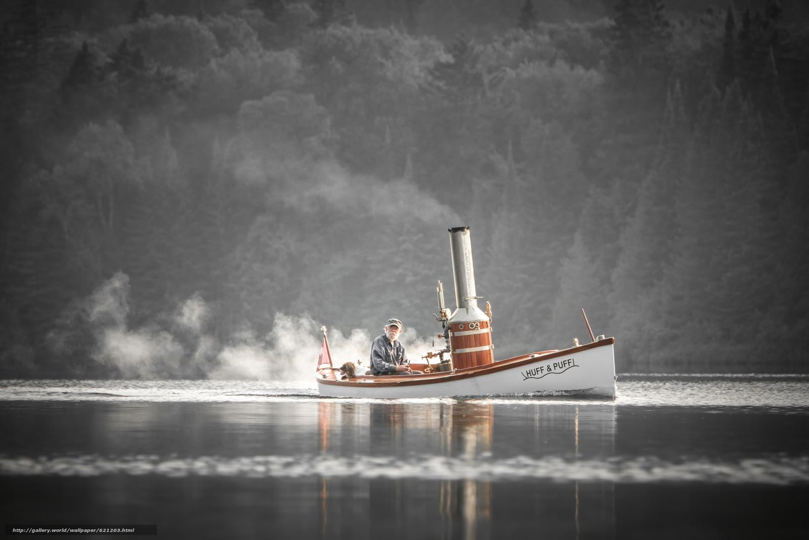 паровая лодка, лодка, старик, собака, река