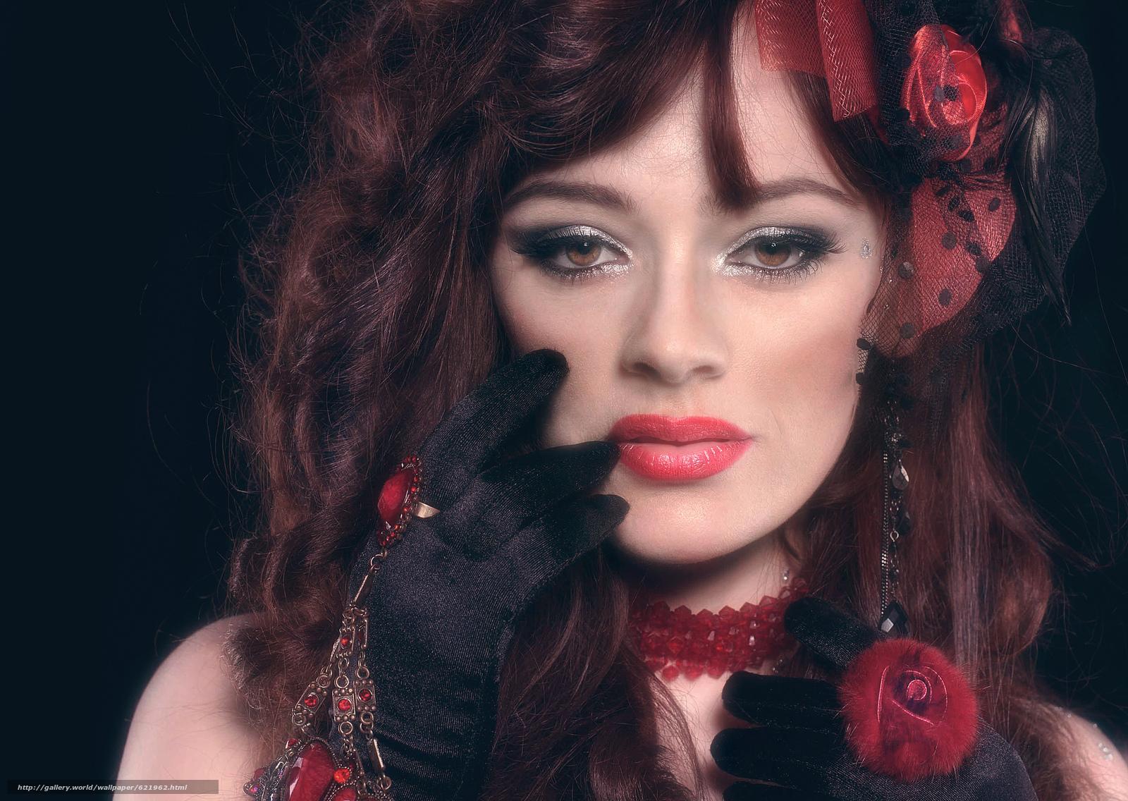 девушка, портрет, лицо, макияж, взгляд, рука, перчатка, кольцо, украшения
