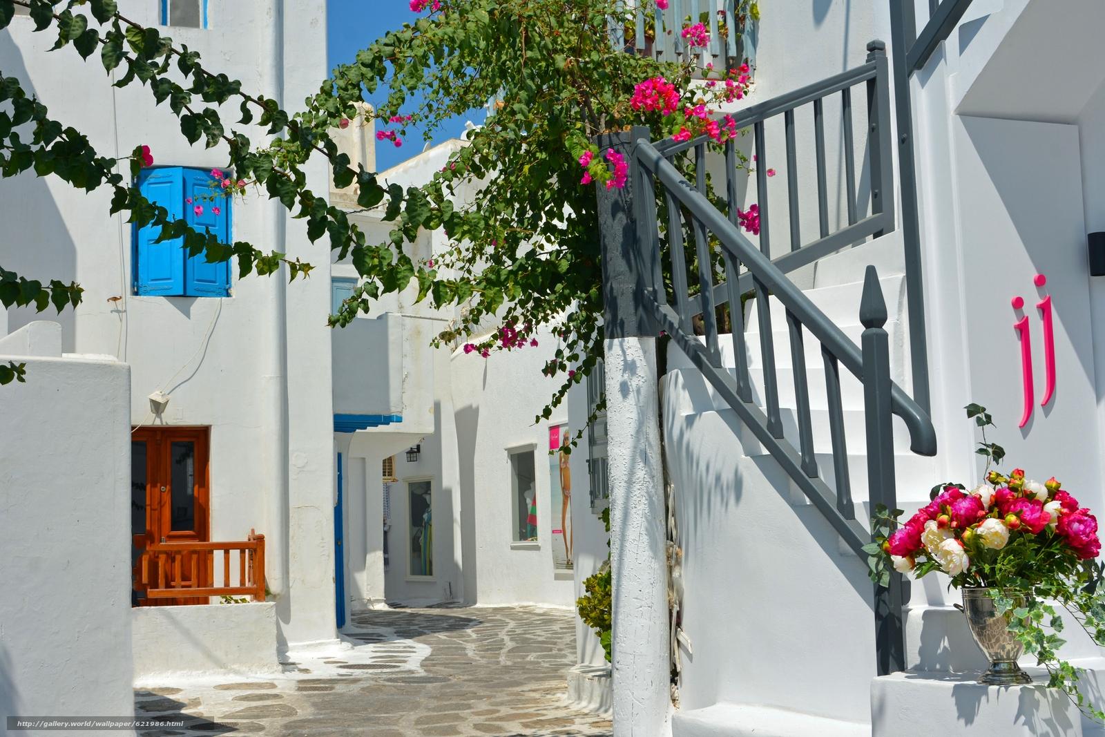 Mykonos, Greece, Миконос, Греция, улочка, лестница, цветы