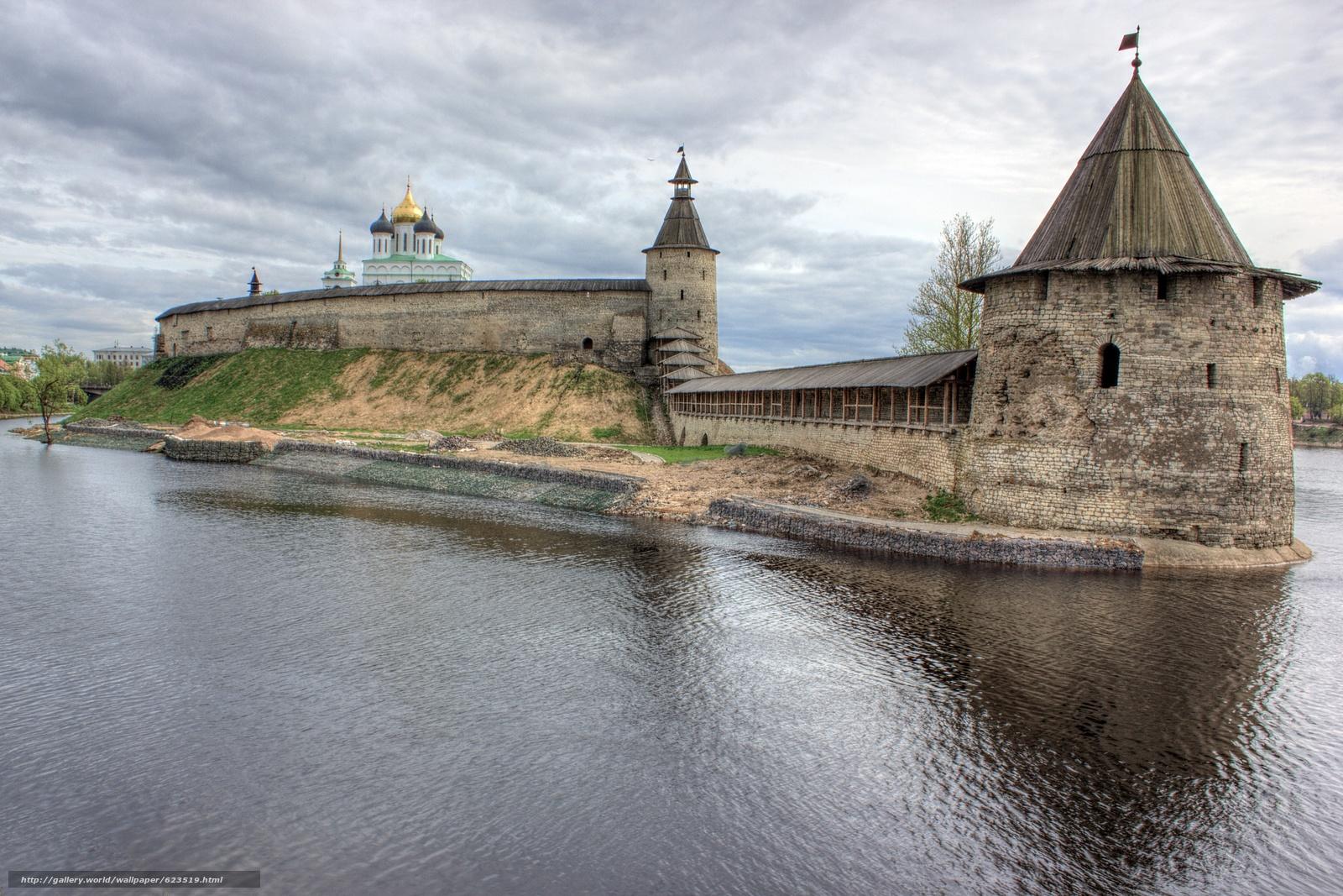 Кром, Псков, Россия, река Великая, небо, облака, город