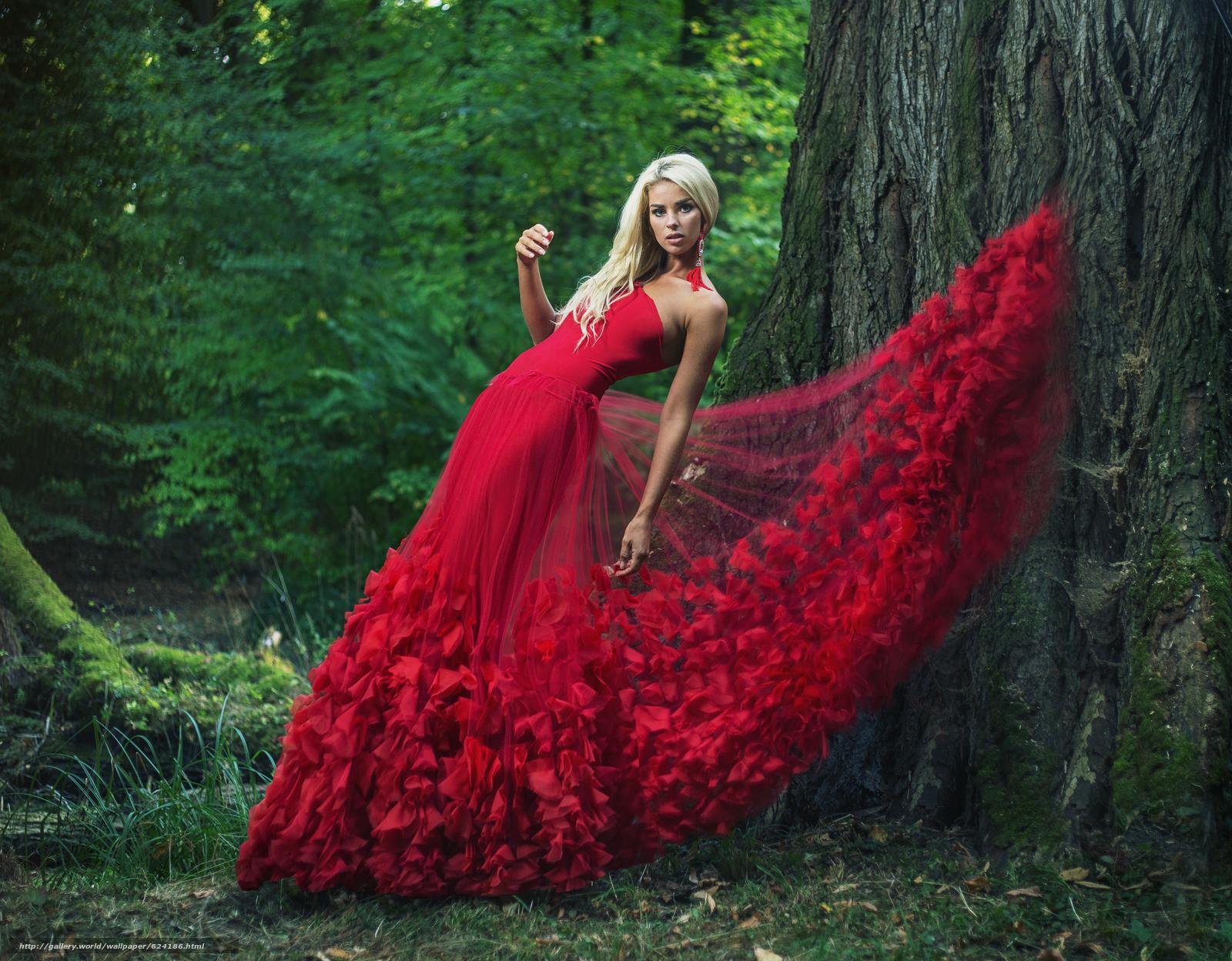 модель, поза, красное платье, платье, дерево