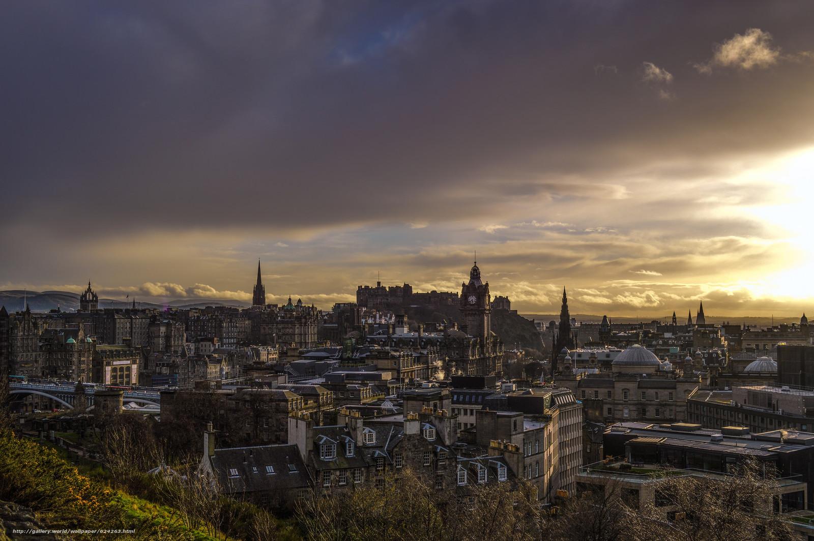 Эдинбург, Шотландия, город, сумерки, дома, небо