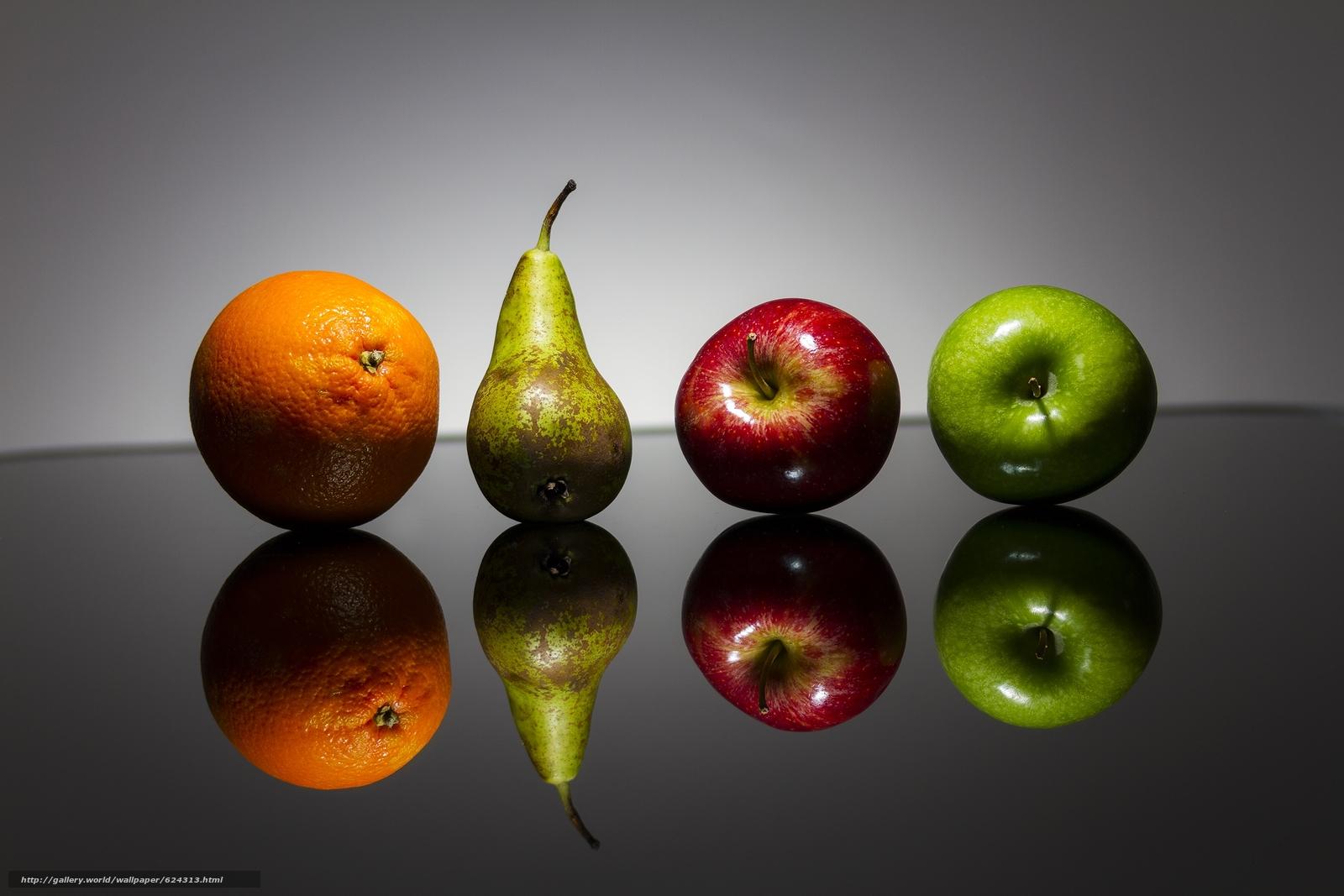 фрукты, яблоки, груша, апельсин