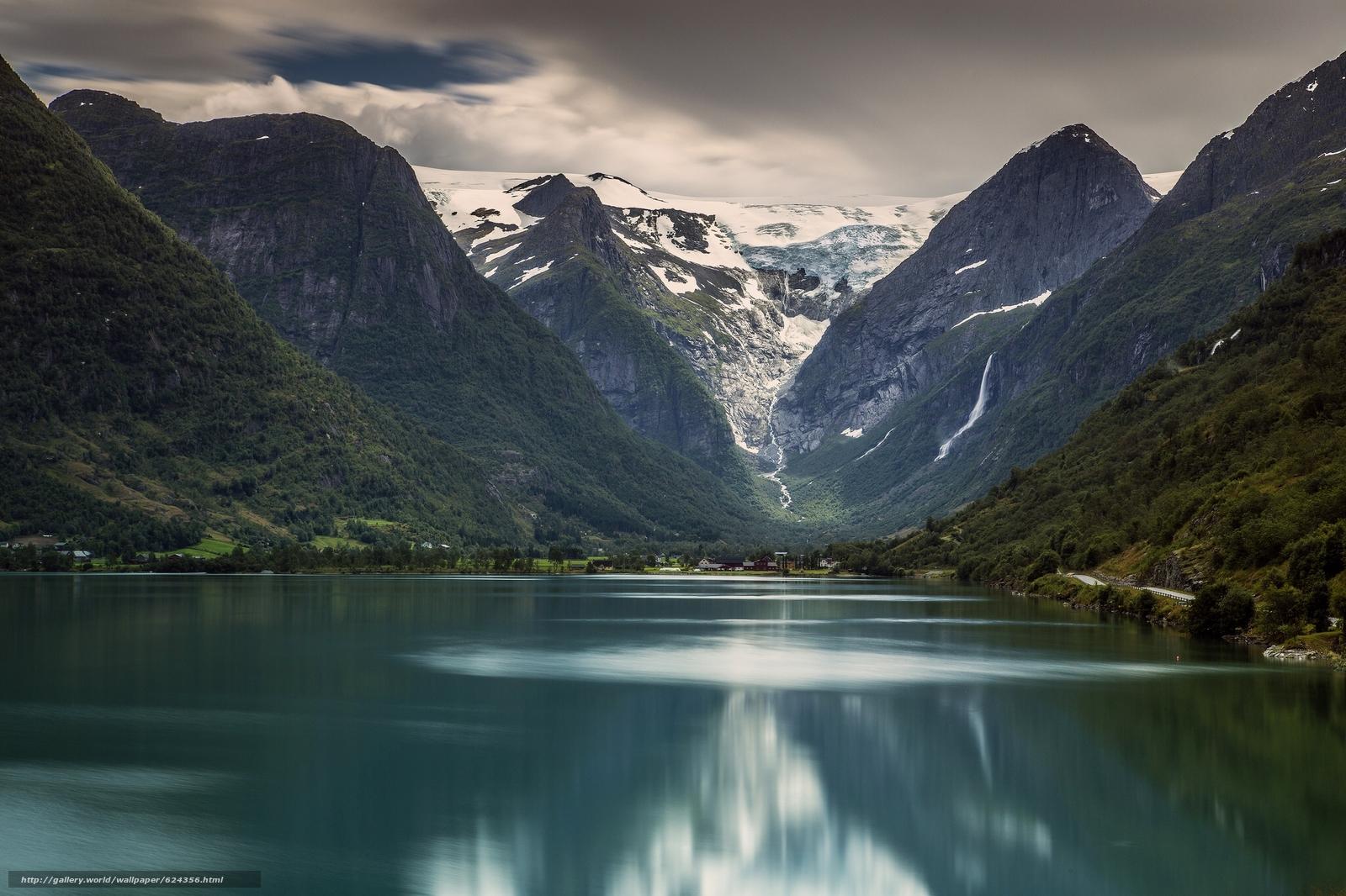 Briksdalsbreen, Briksdal glacier, Jostedalsbreen National Park, Stryn, Norway, Ледник Бриксдаль, Национальный парк Йостедалсбреен, Стрюн, Норвегия, озеро, горы