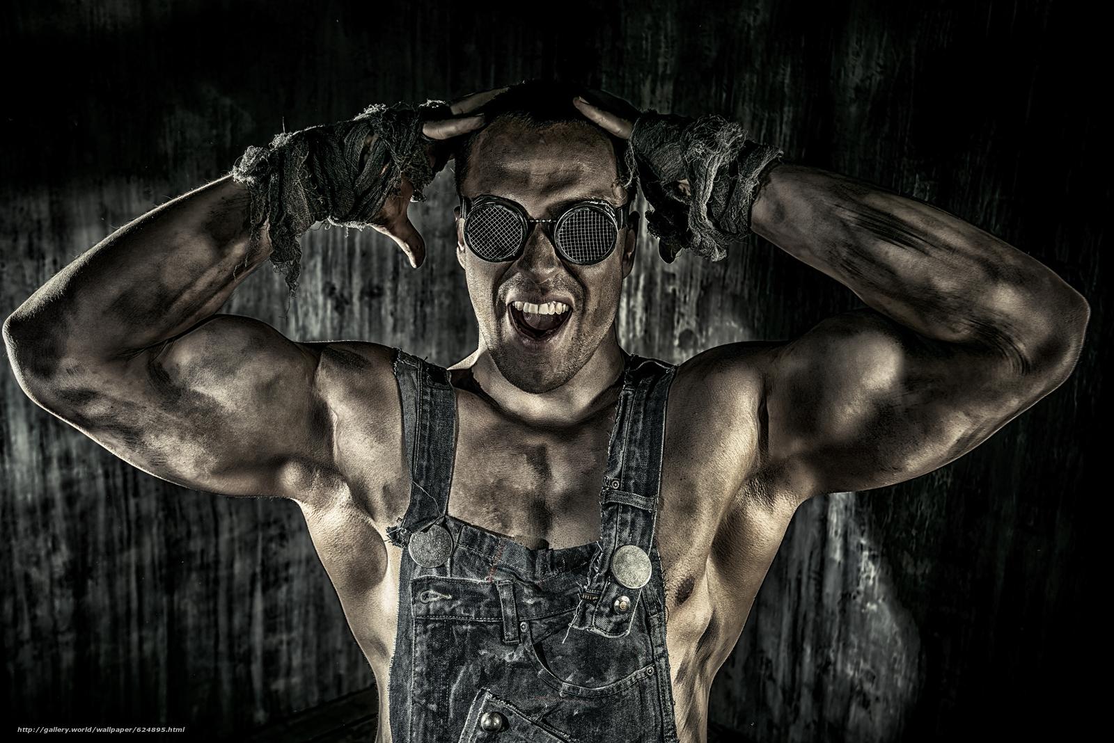 парень, работяга, мышцы, очки