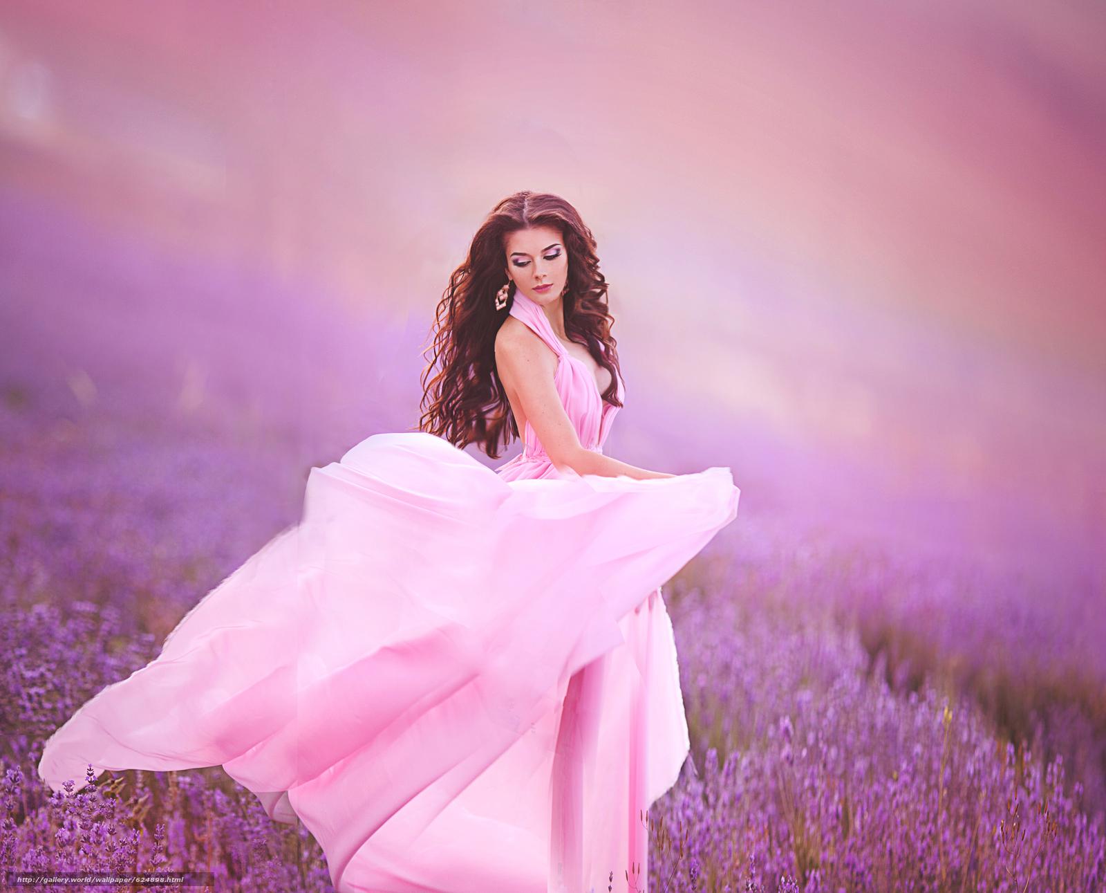 модель, макияж, платье, луг, лаванда
