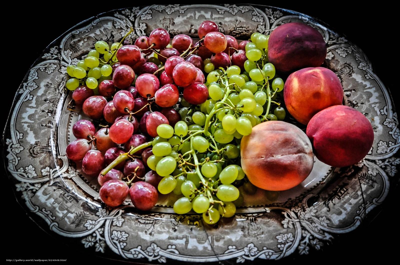 блюдо, виноград, персики, фрукты