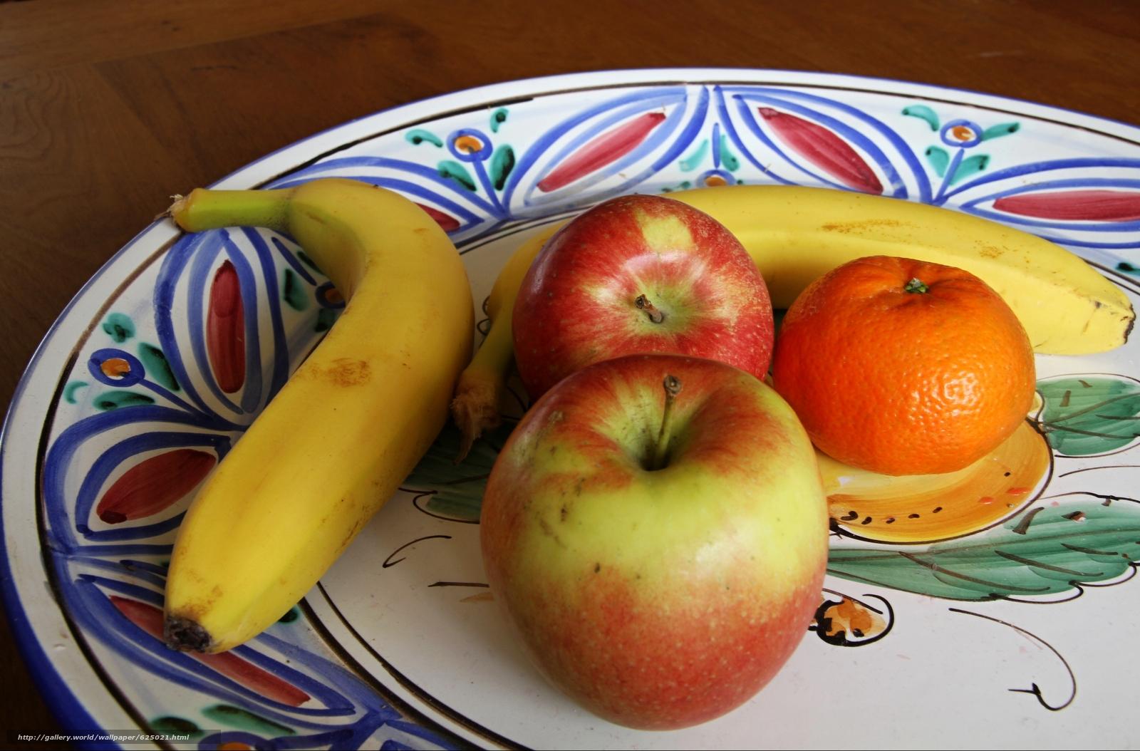 блюдо, фрукты, яблоки, банан, мандарин