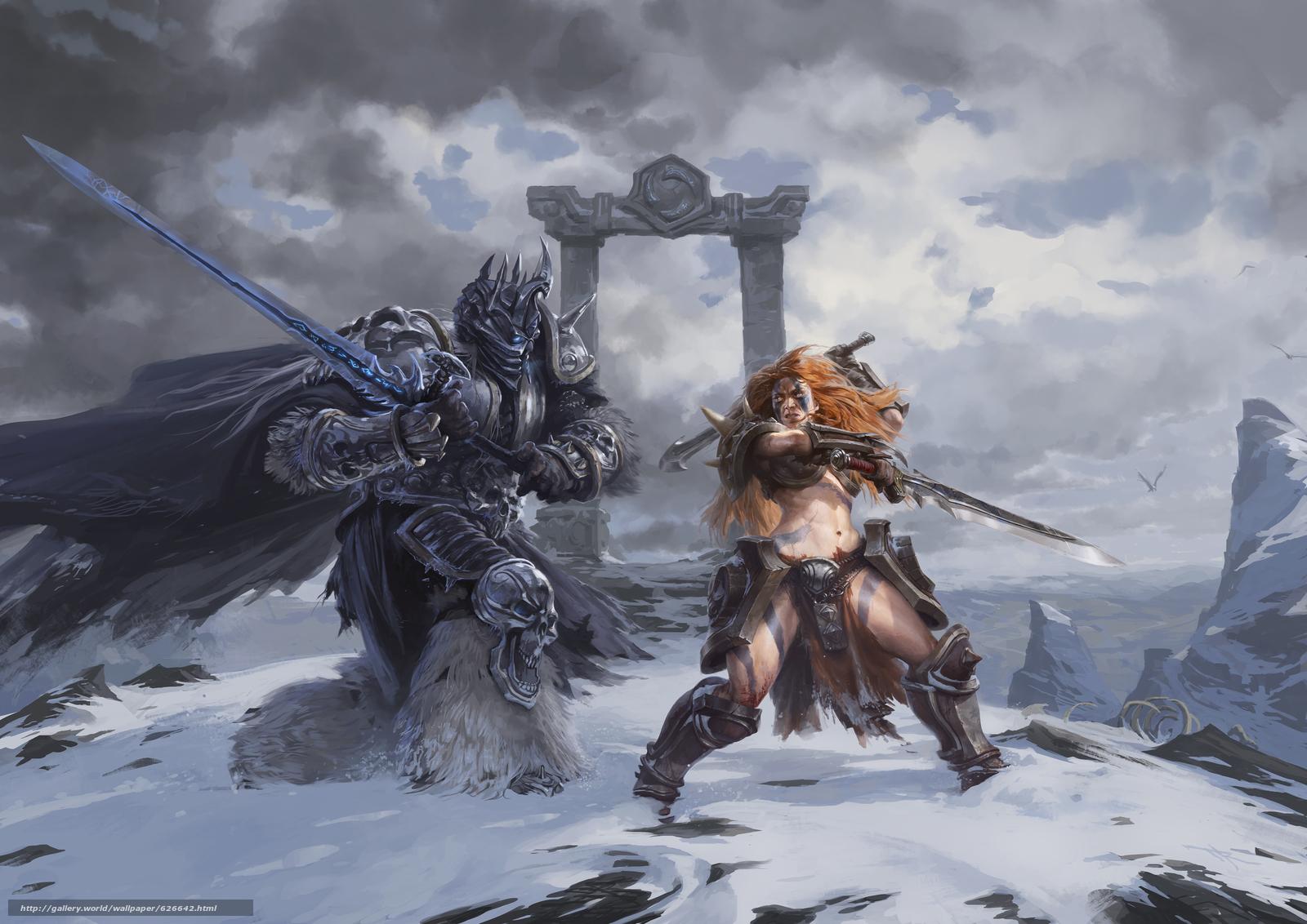 Heroes of the Storm, Arthas, The Lich King, Sonya, Wandering Barbarian, Артас, Король-лич, Соня, Странствующий варвар, меч, сражение, битва