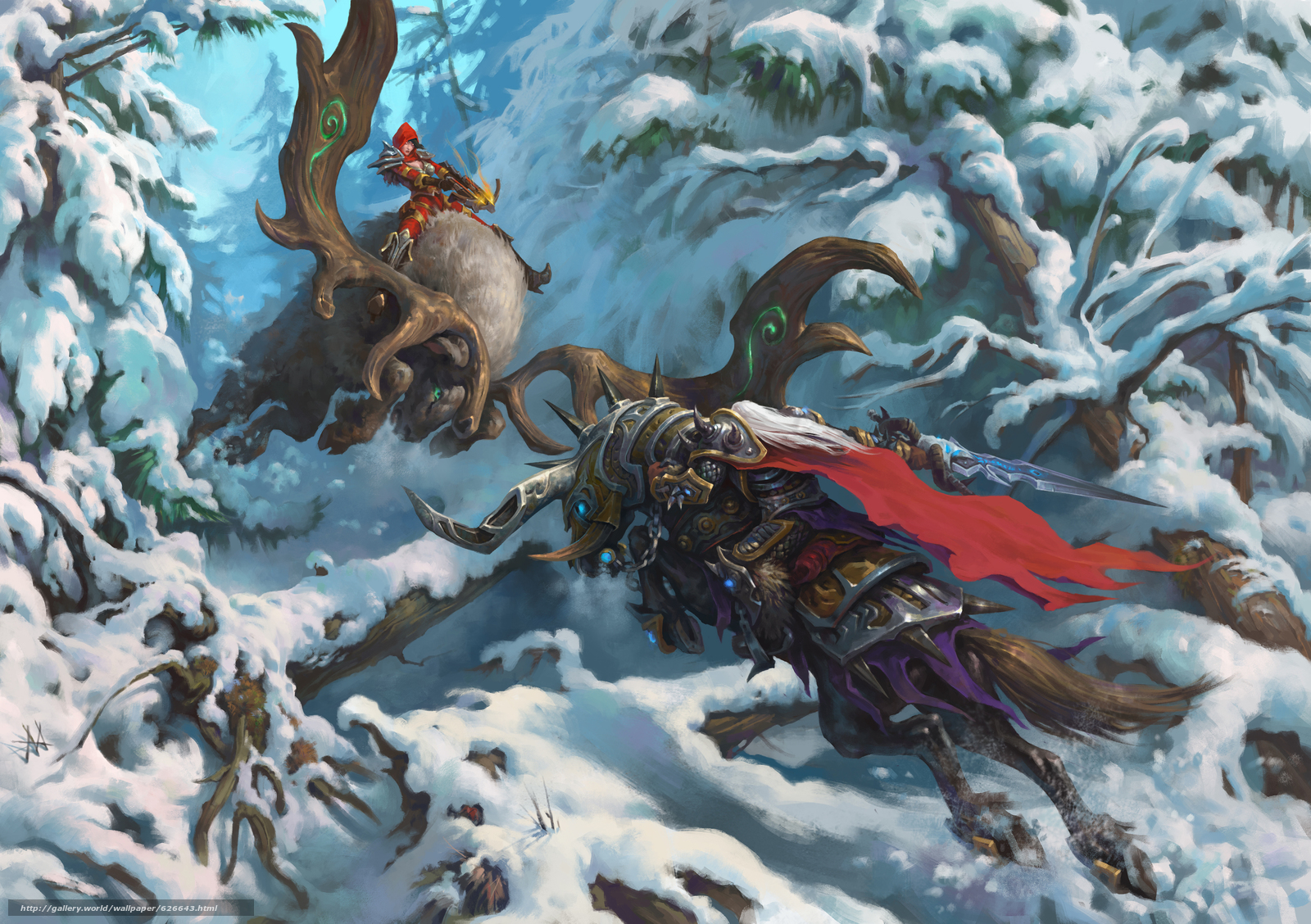 Heroes of the Storm, Arthas, The Lich King, Valla, Demon Hunter, Артас, Король-лич, Валла, Охотница на демонов, сражение, битва, зима, снег