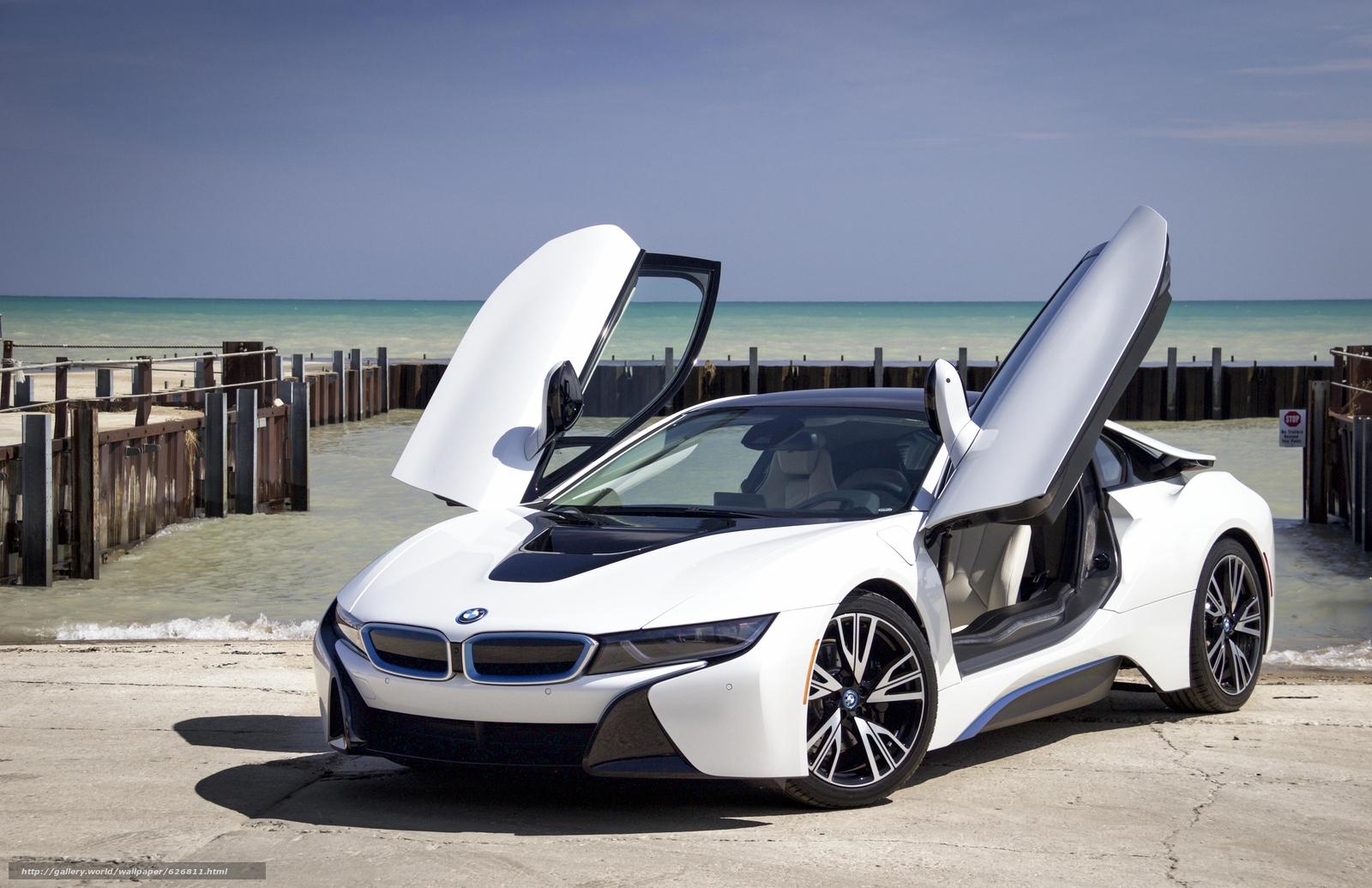 BMW i8, sports car, спорткар, купе, причал, море