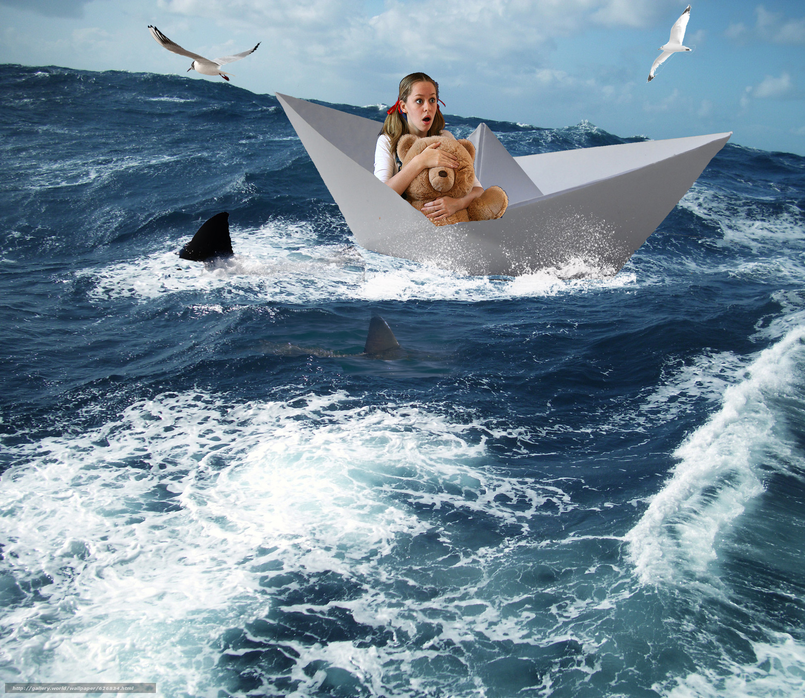 море, бумажный кораблик, девушка, акулы