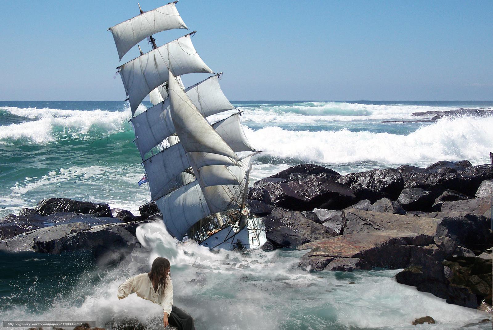 море, шторм, корабль, скалы