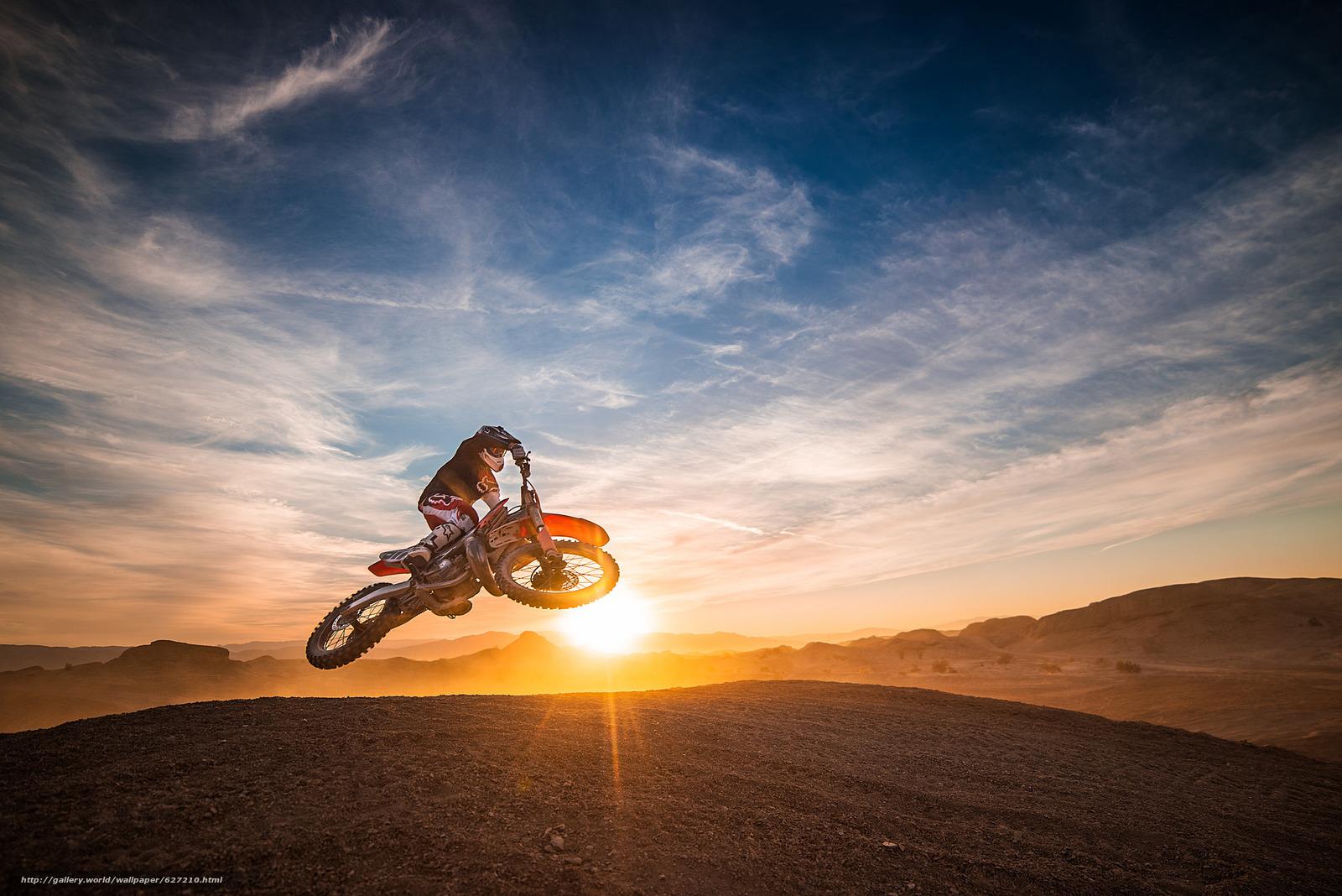 мотокросс, мотоциклист, закат