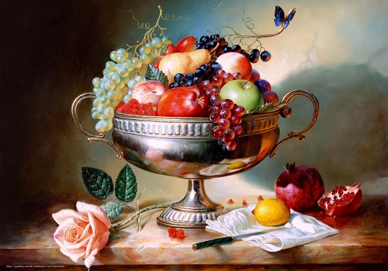 ваза, фрукты, натюрморт