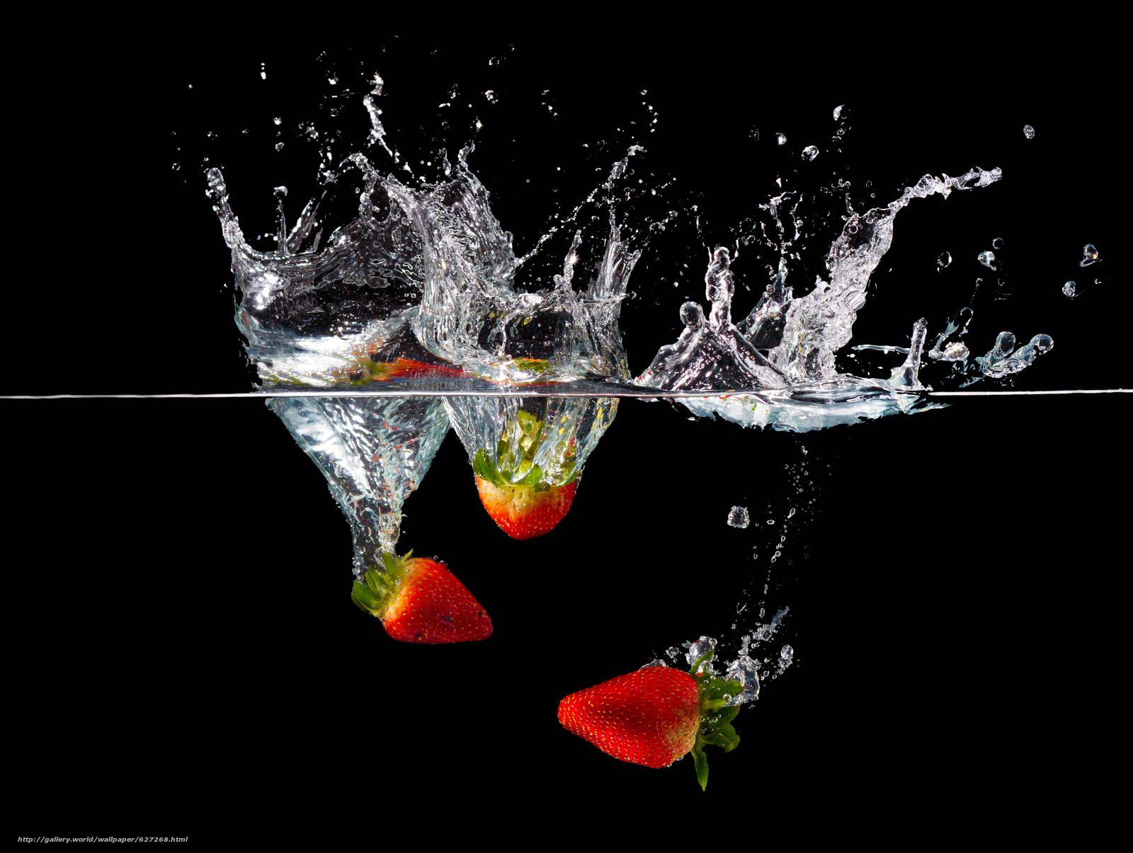 жидкость, вода, клубника, брызги