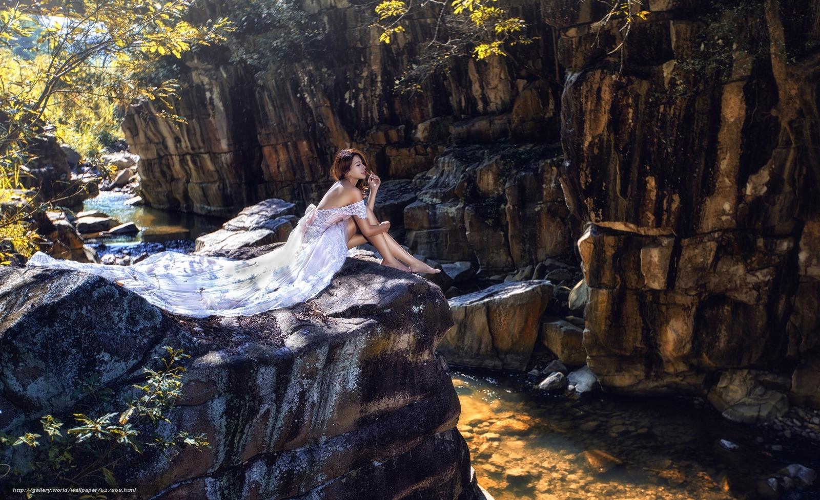 азиатка, невеста, платье, ноги, скалы, река, настроение