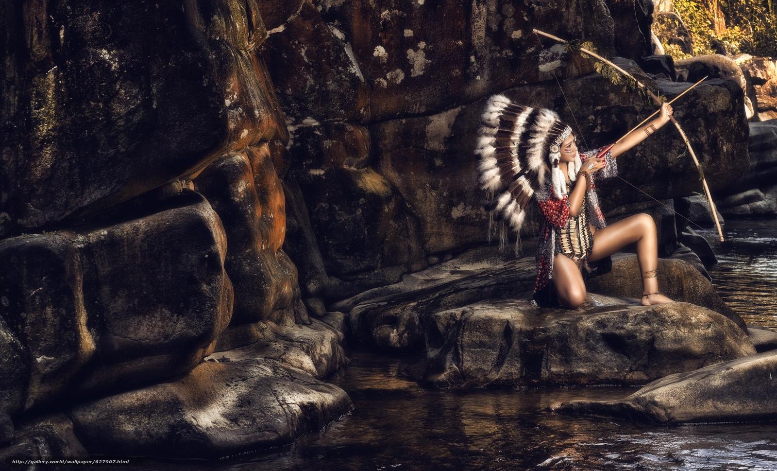 индианка, скво, лук, роуч, перья, камни