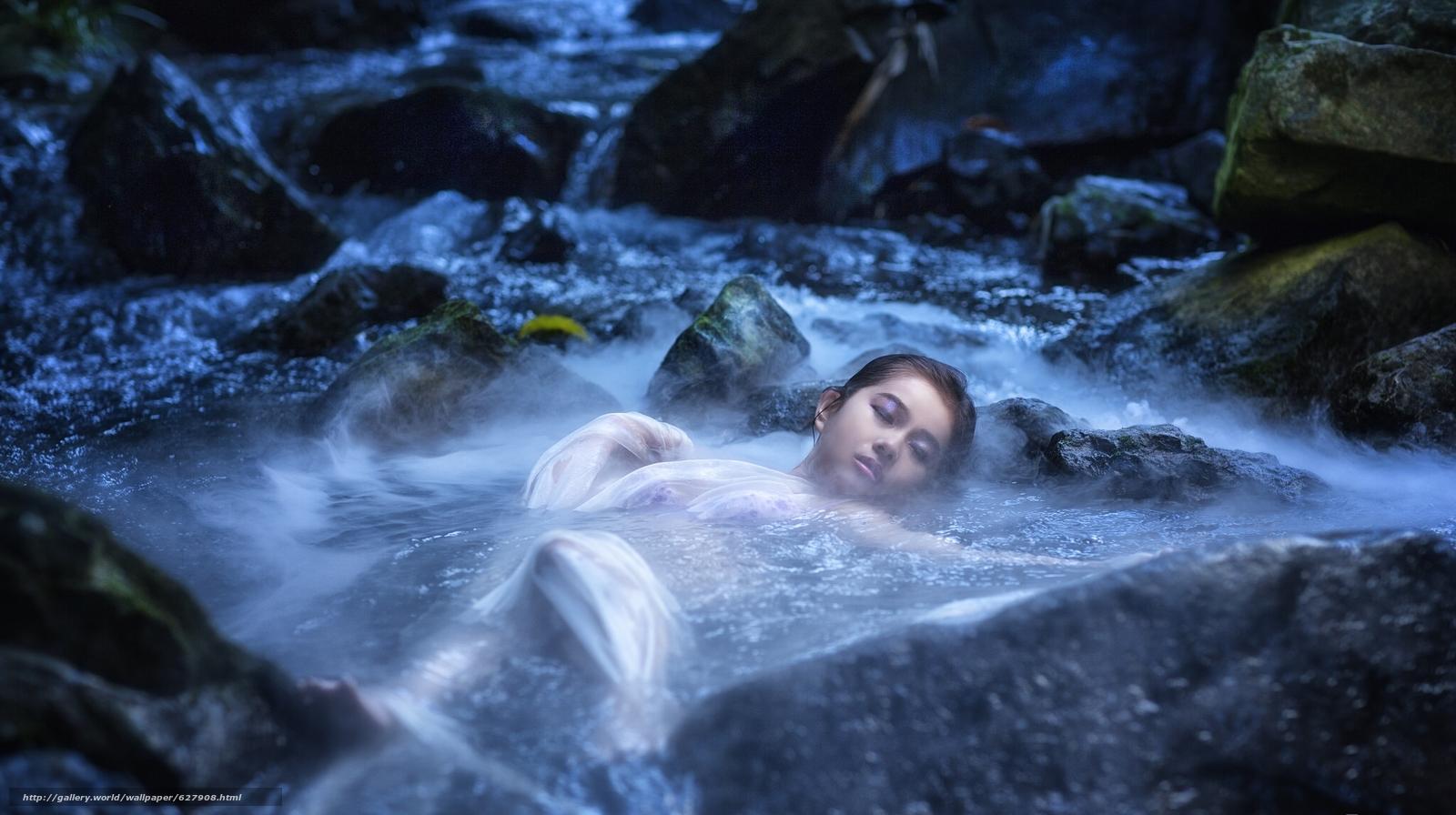 азиатка, вода, река, камни, настроение
