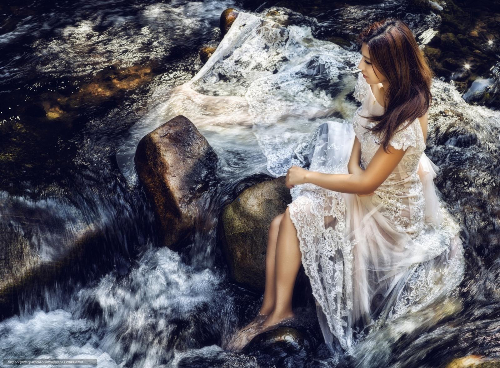 азиатка, невеста, платье, настроение, река, камни