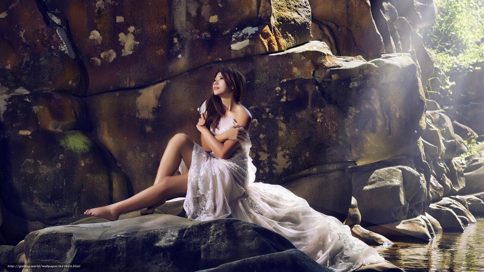 азиатка, невеста, платье, настроение, камни