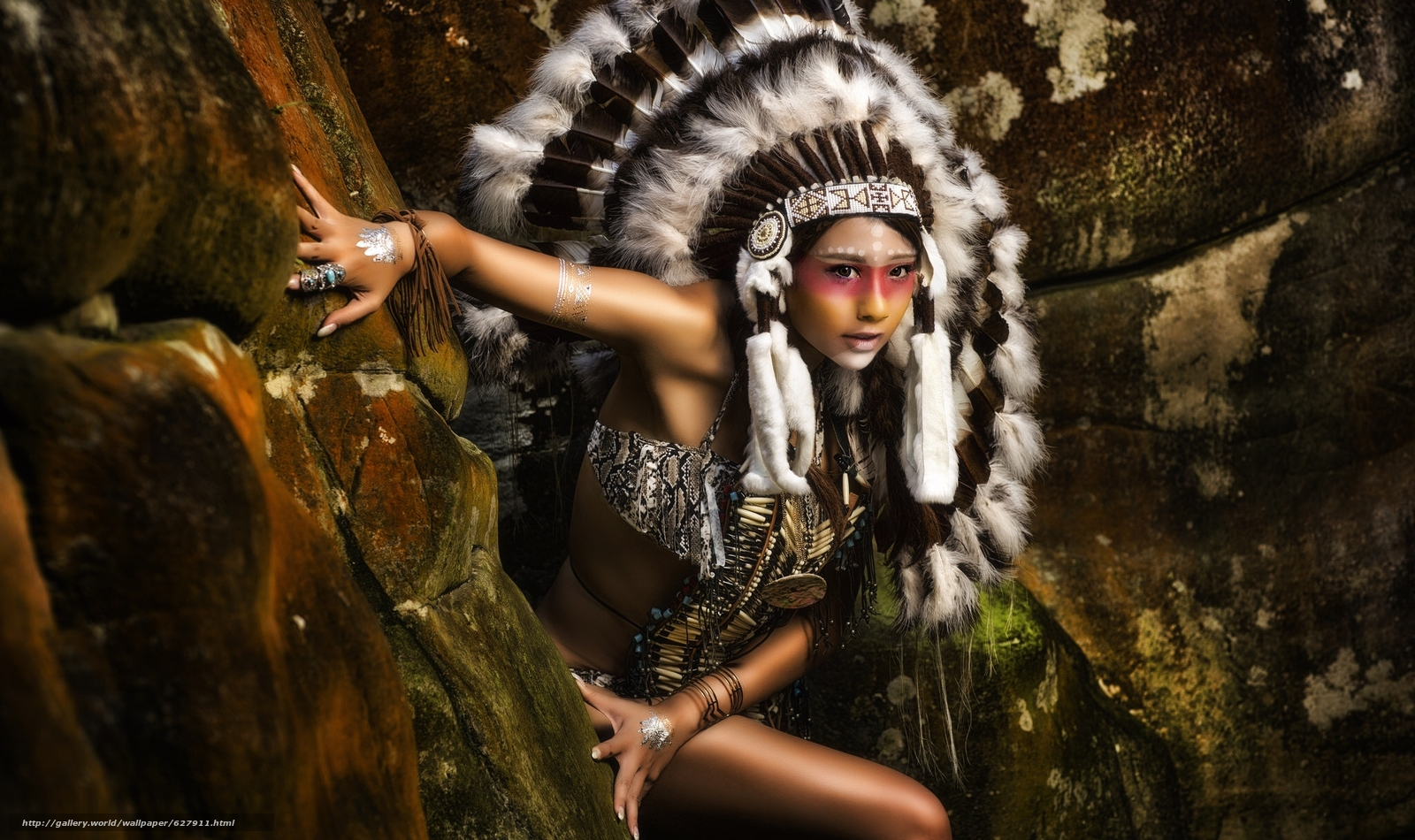 индианка, скво, раскрас, роуч, перья