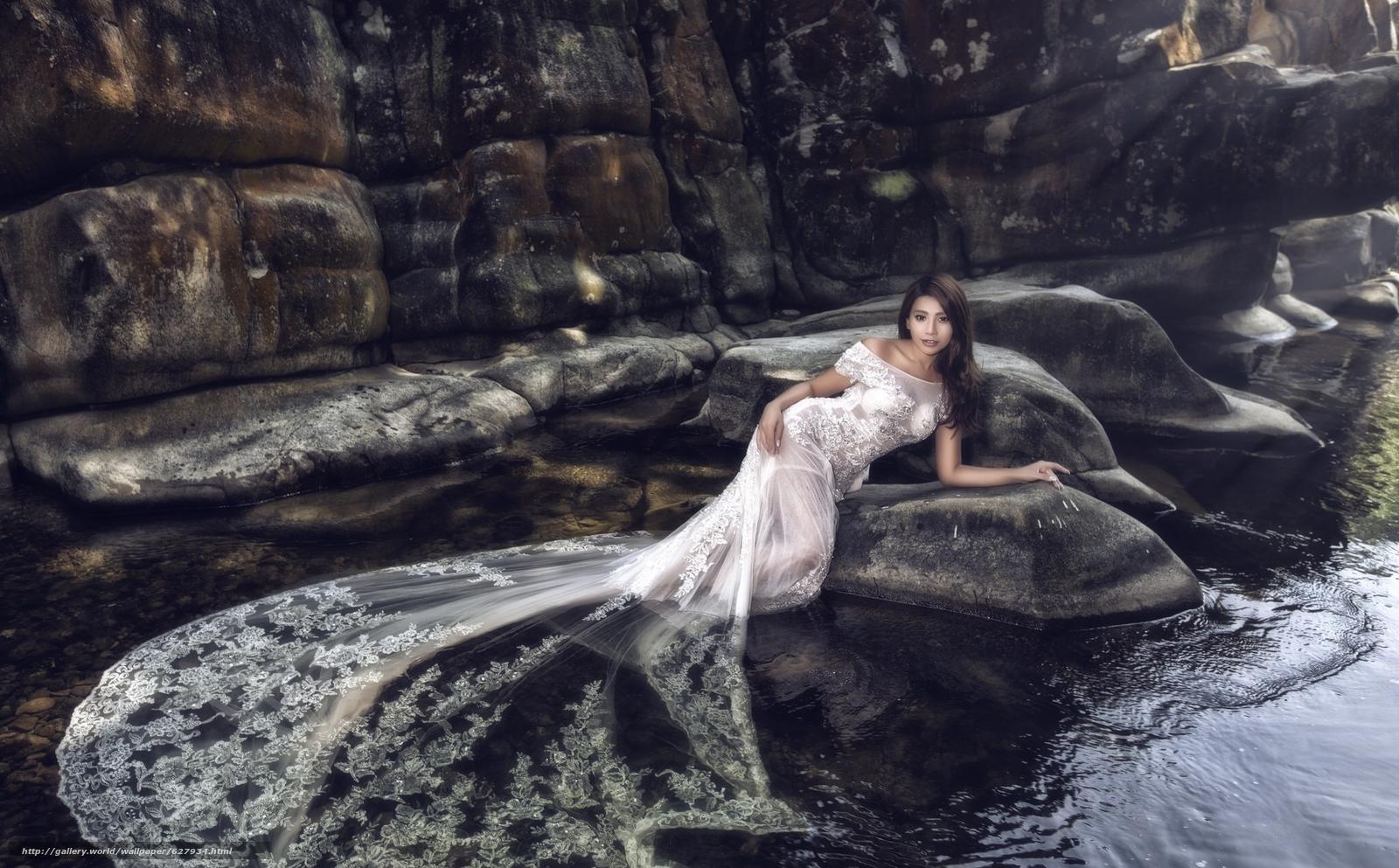 азиатка, невеста, свадебное платье, платье, вода, камни
