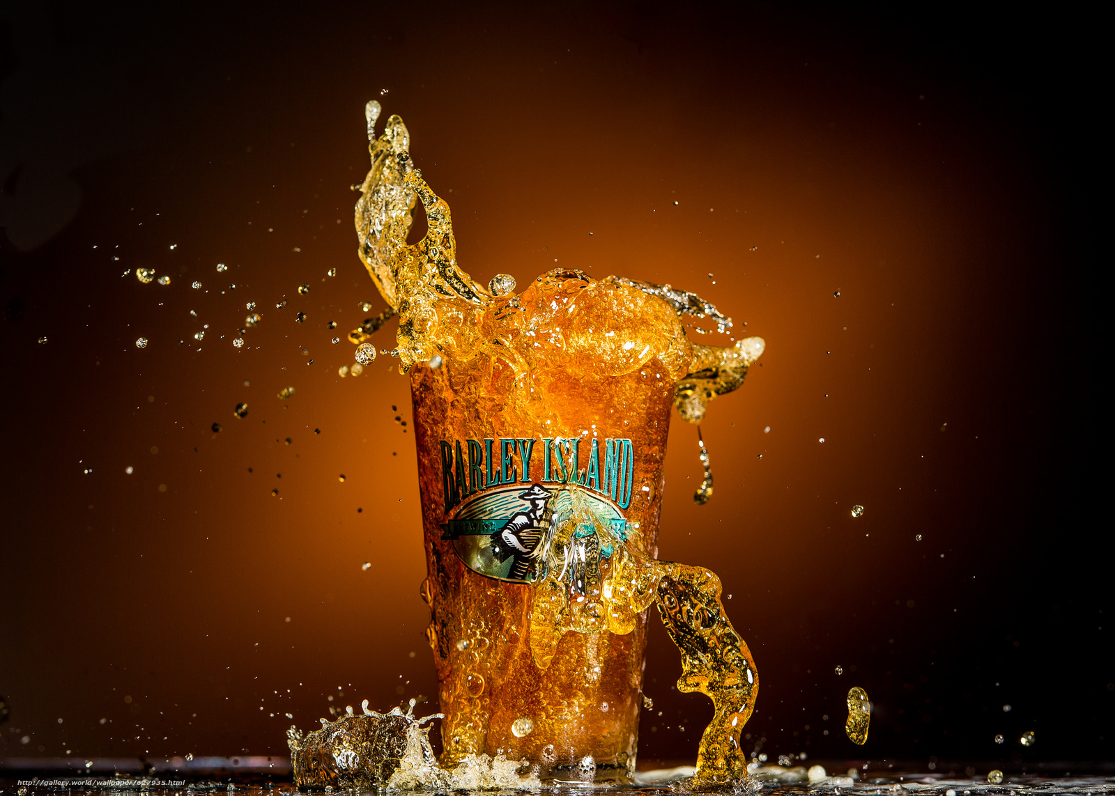 Barley Island Beer, пиво, всплеск, стакан, макро