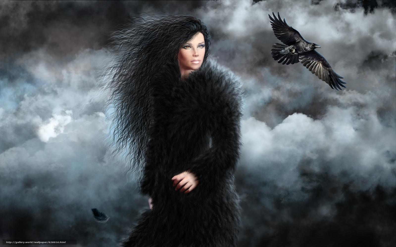 девушка, ворона, art