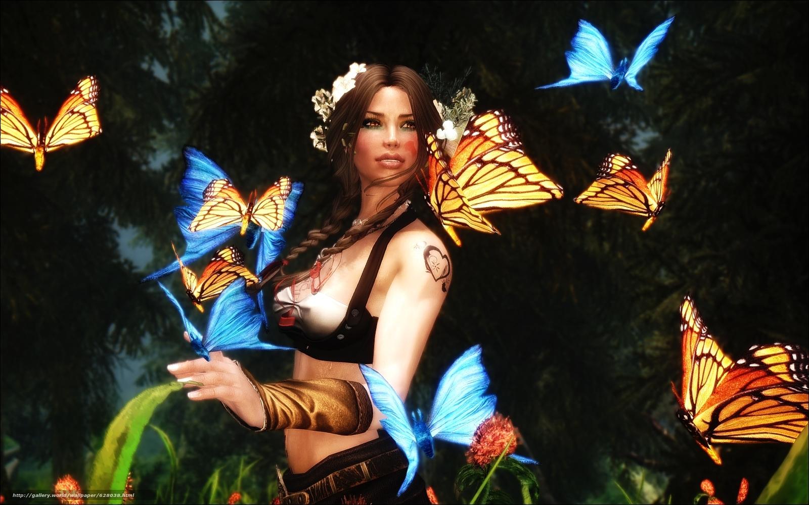 девушка, бабочки, art
