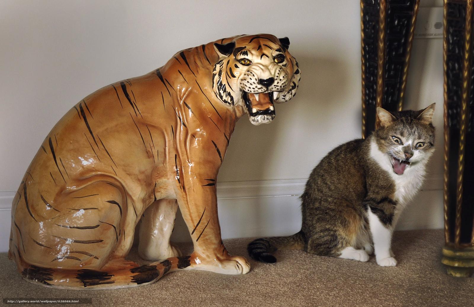 оскал, кот, тигр, статуэтка