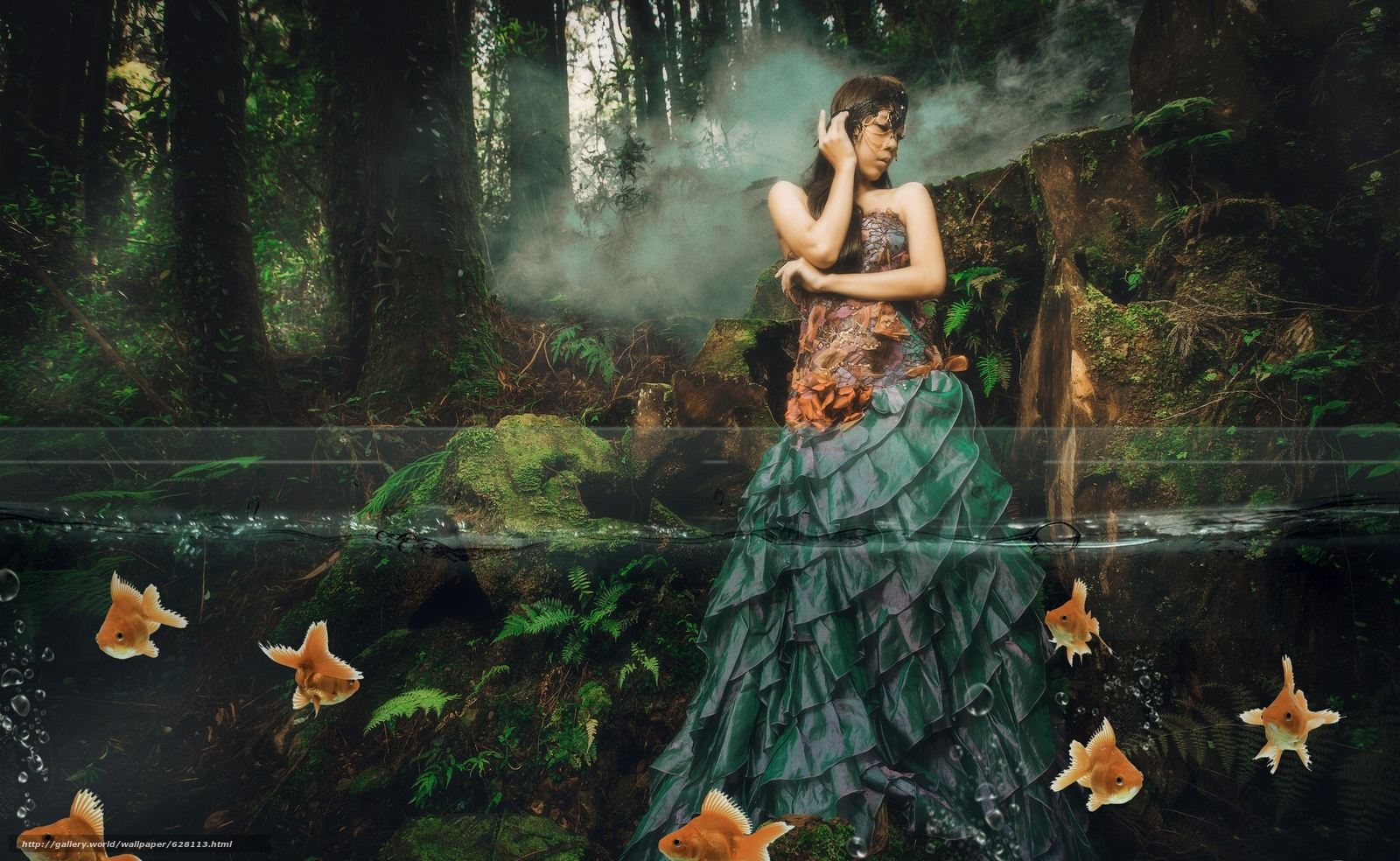 девушка, азиатка, платье, рыбки, вода, лес, ситуация