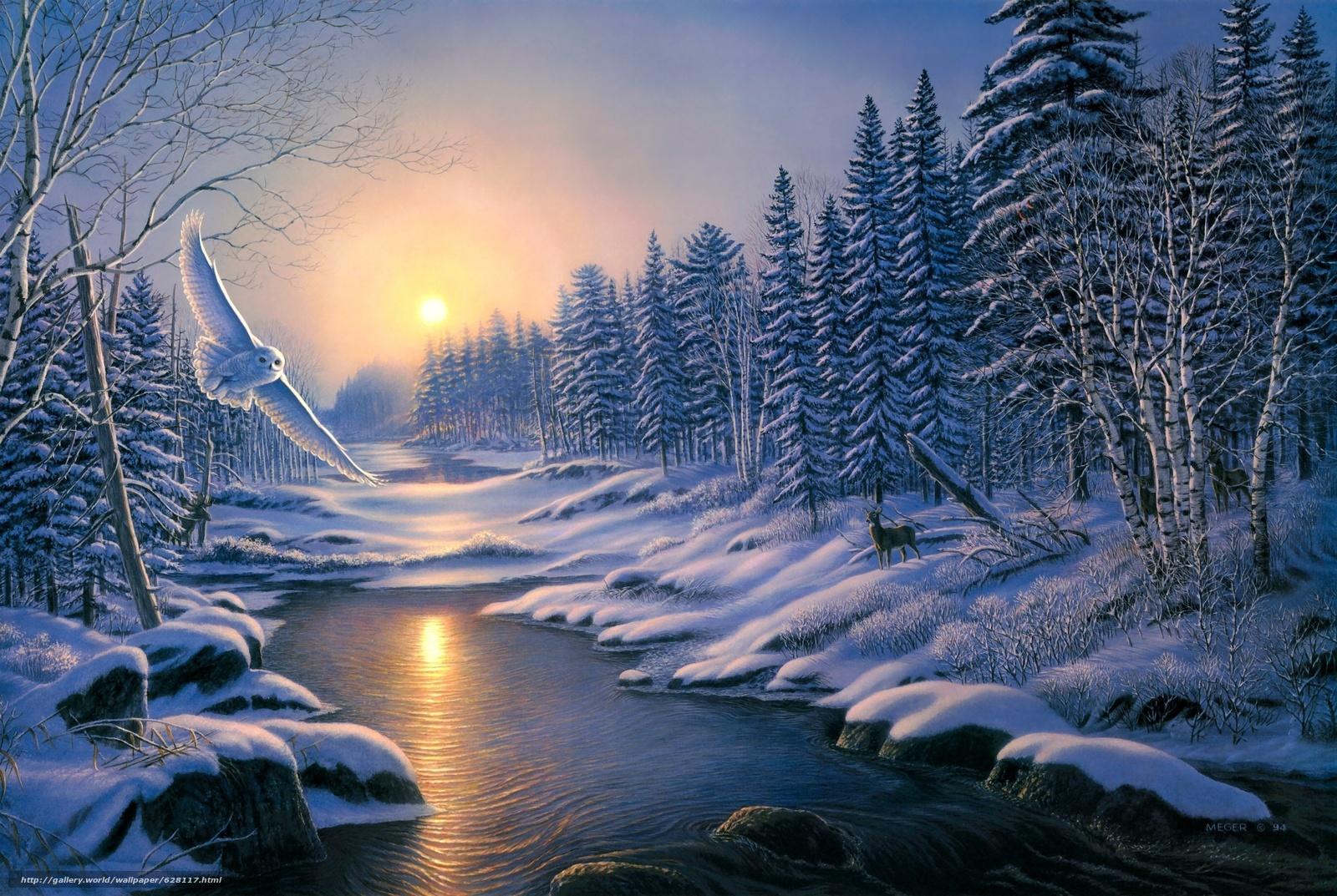 зима, закат, лес, деревья, река, сова, пейзаж, живопись