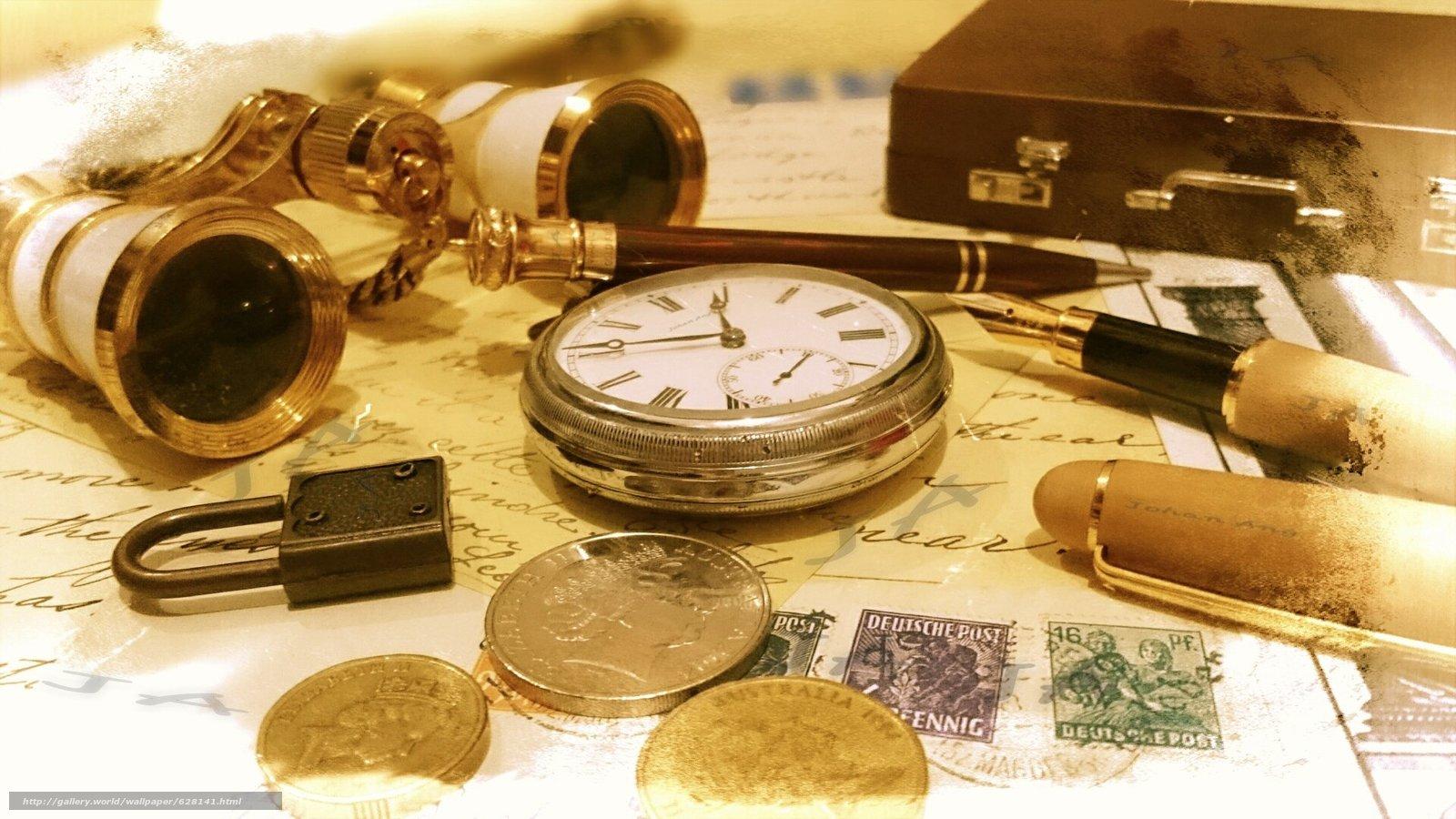 деньги, часы, бинокль, ручка