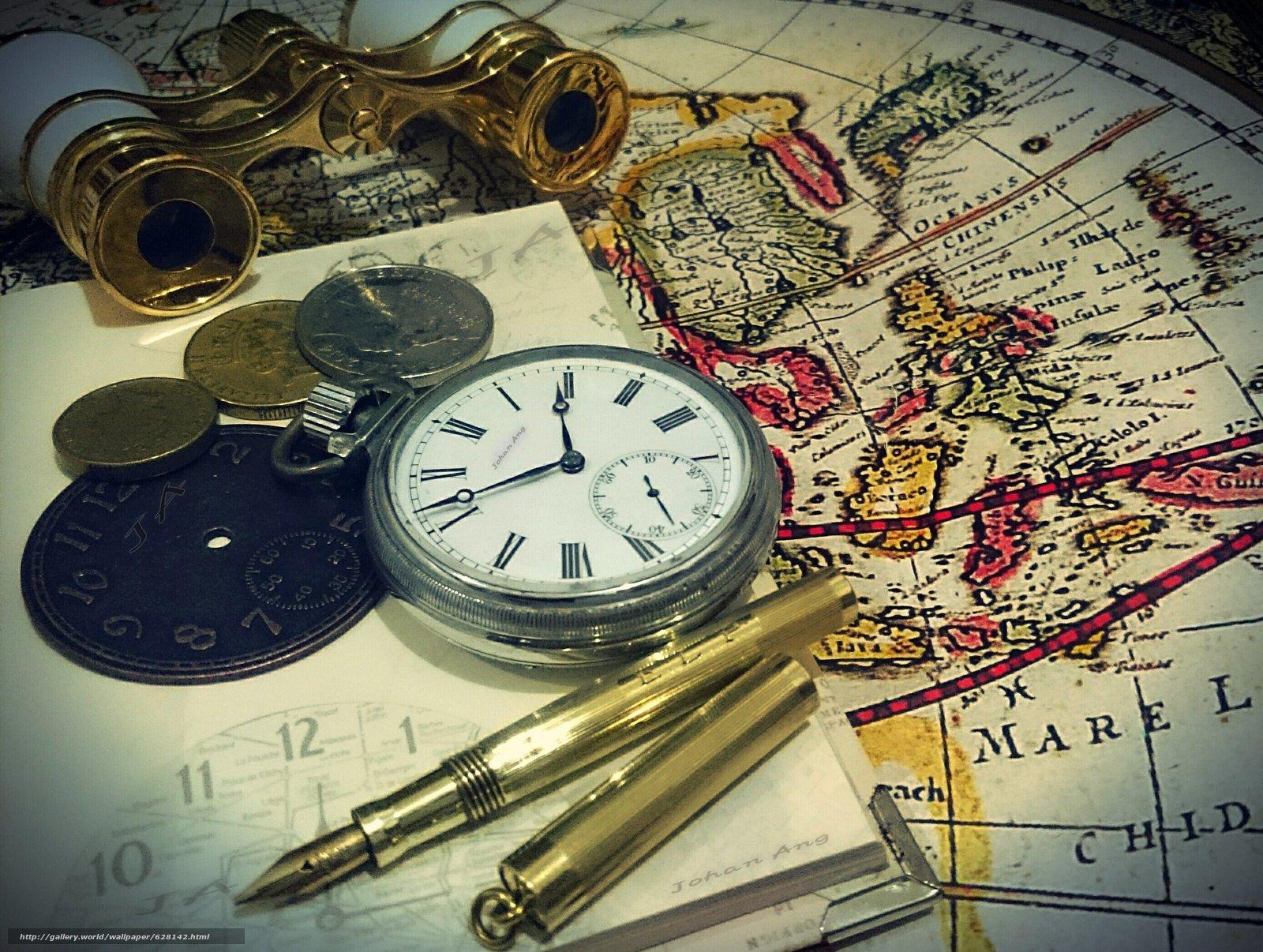 карта, деньги, часы, бинокль, ручка